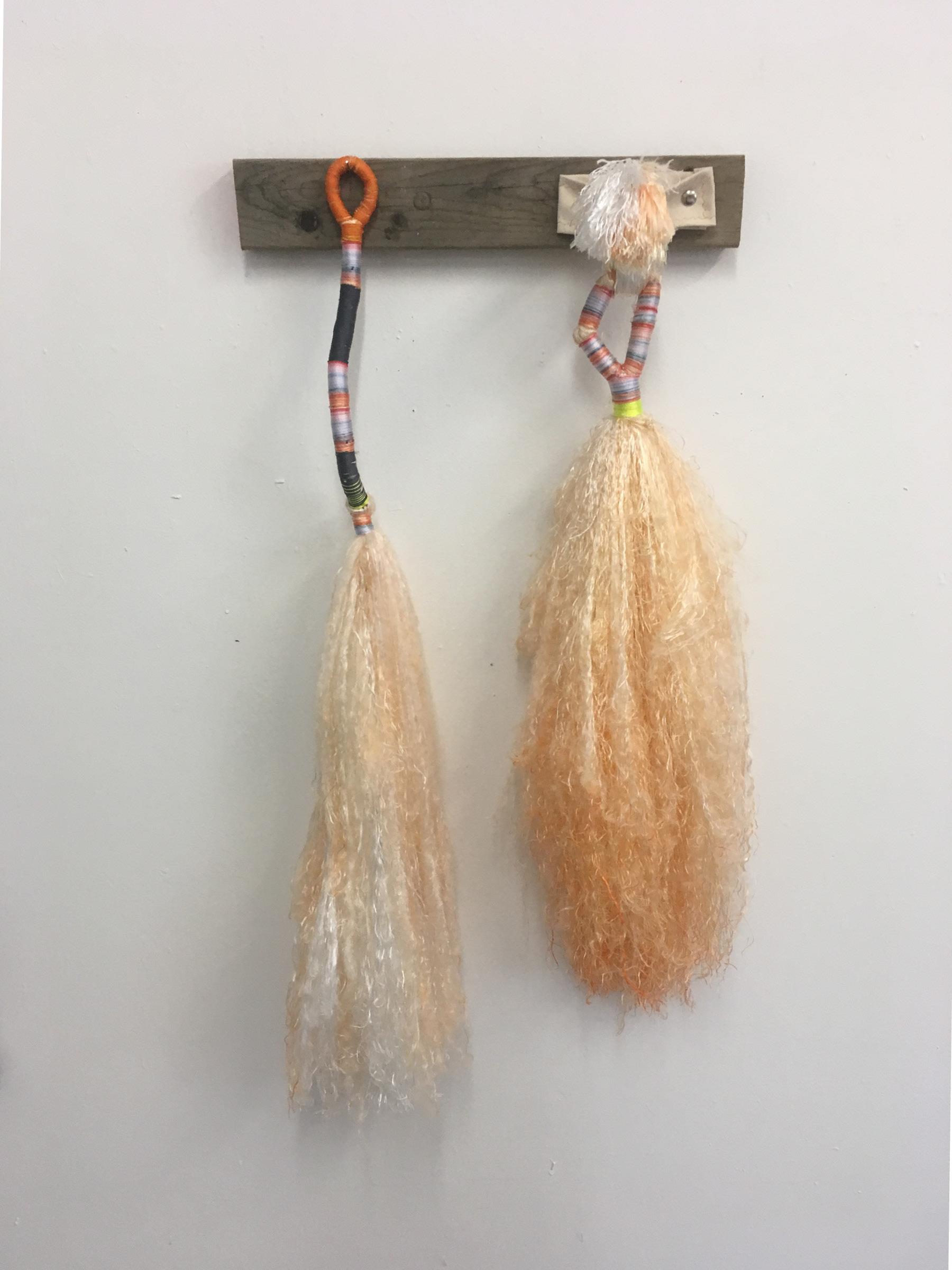 "Sex Brooms, Orange , bound dyed nylon and canvas fixture, 36"" x 24"" x 6"""