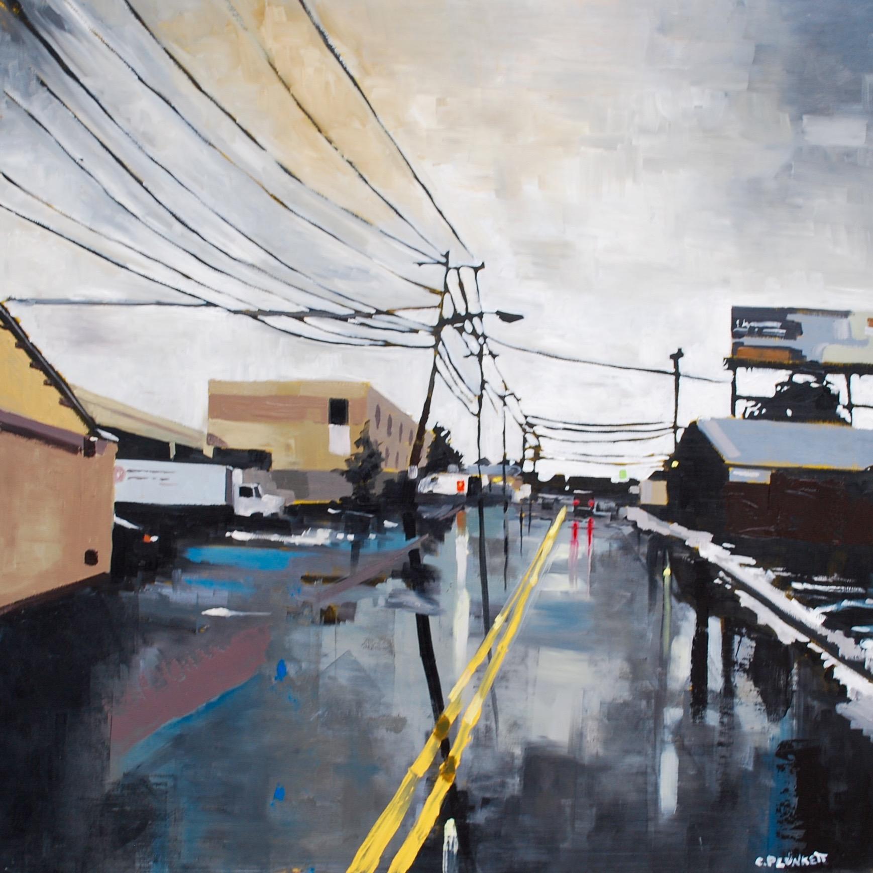 "Tenean Street, Dorchester , oil on wood panel, 30"" x 30"""