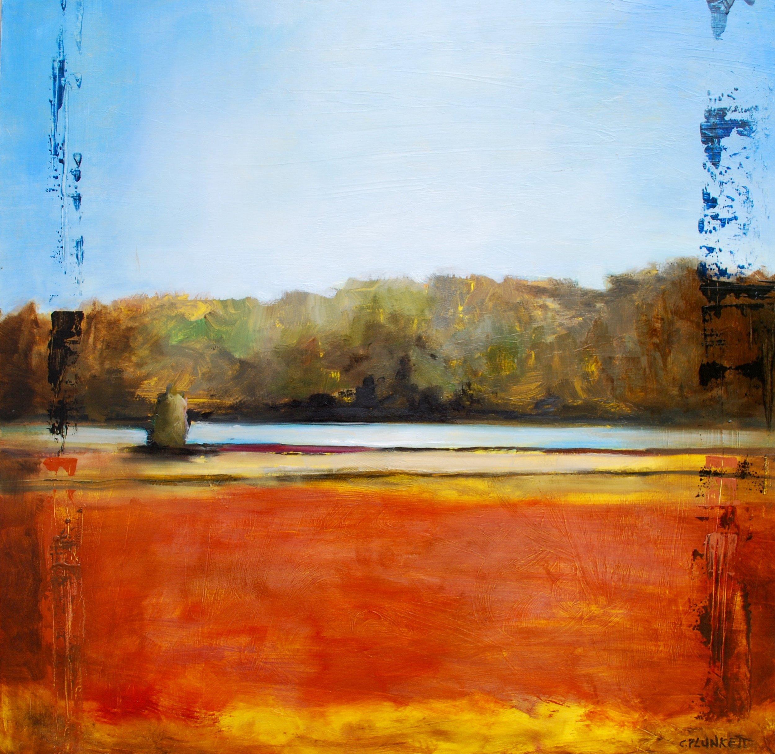 "Cranberry Bog #2 , oil on wood panel, 24"" x 24"""