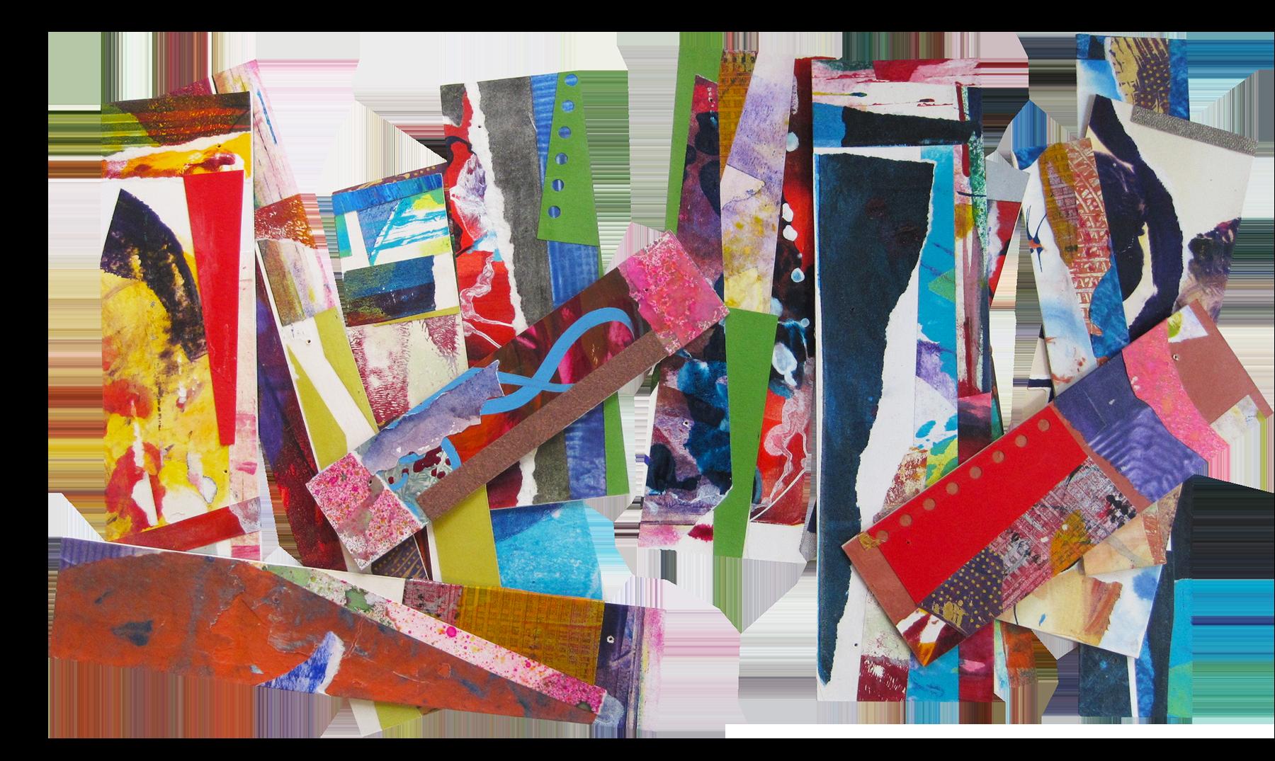 """""""Sticks"""" collaged gelatin monoprints"""
