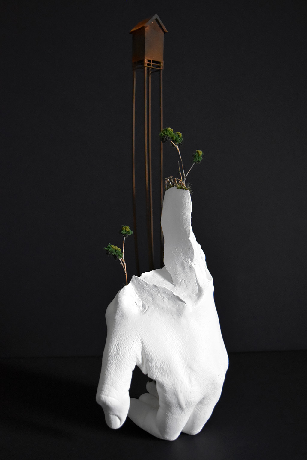Tatiana Flis,  Moving Inland , resin, wood, and mixed-media, 12x5x4.5