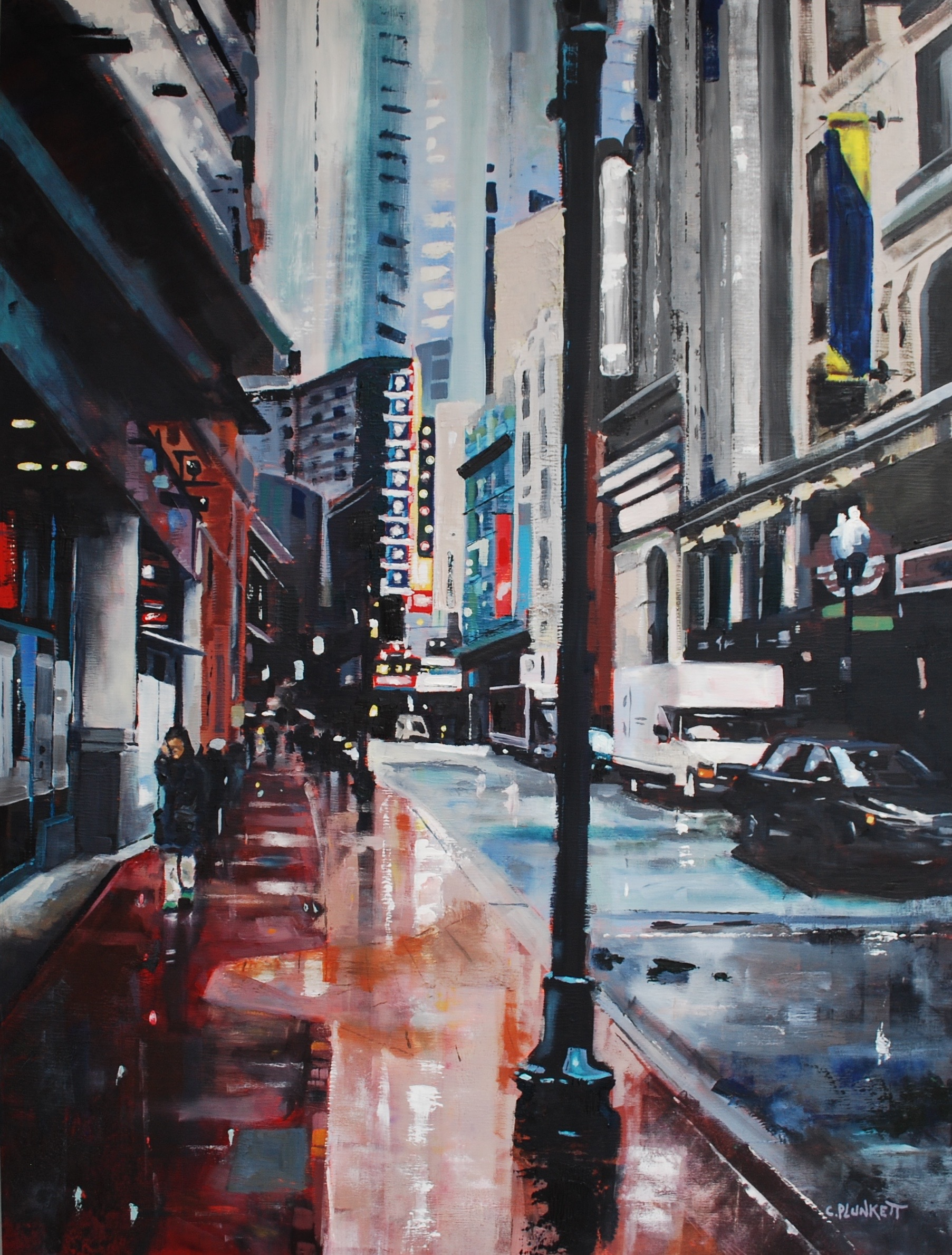 Chris Plunkett,  Downtown Crossing , oil on wood panel, 40x30