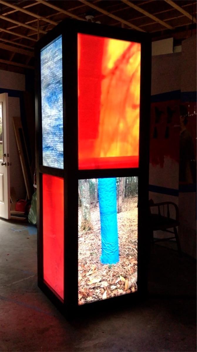 "Joseph Fontinha,  Video Booth (Blue Tarp Summary),  video Sculpture, 7'x28""x28"""