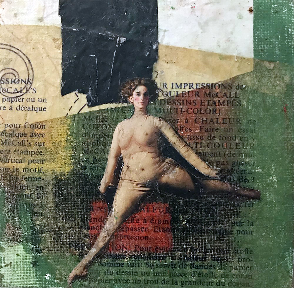 """Belle 1,  mixed-media, encaustic and collage 7"""" x 7"""""""