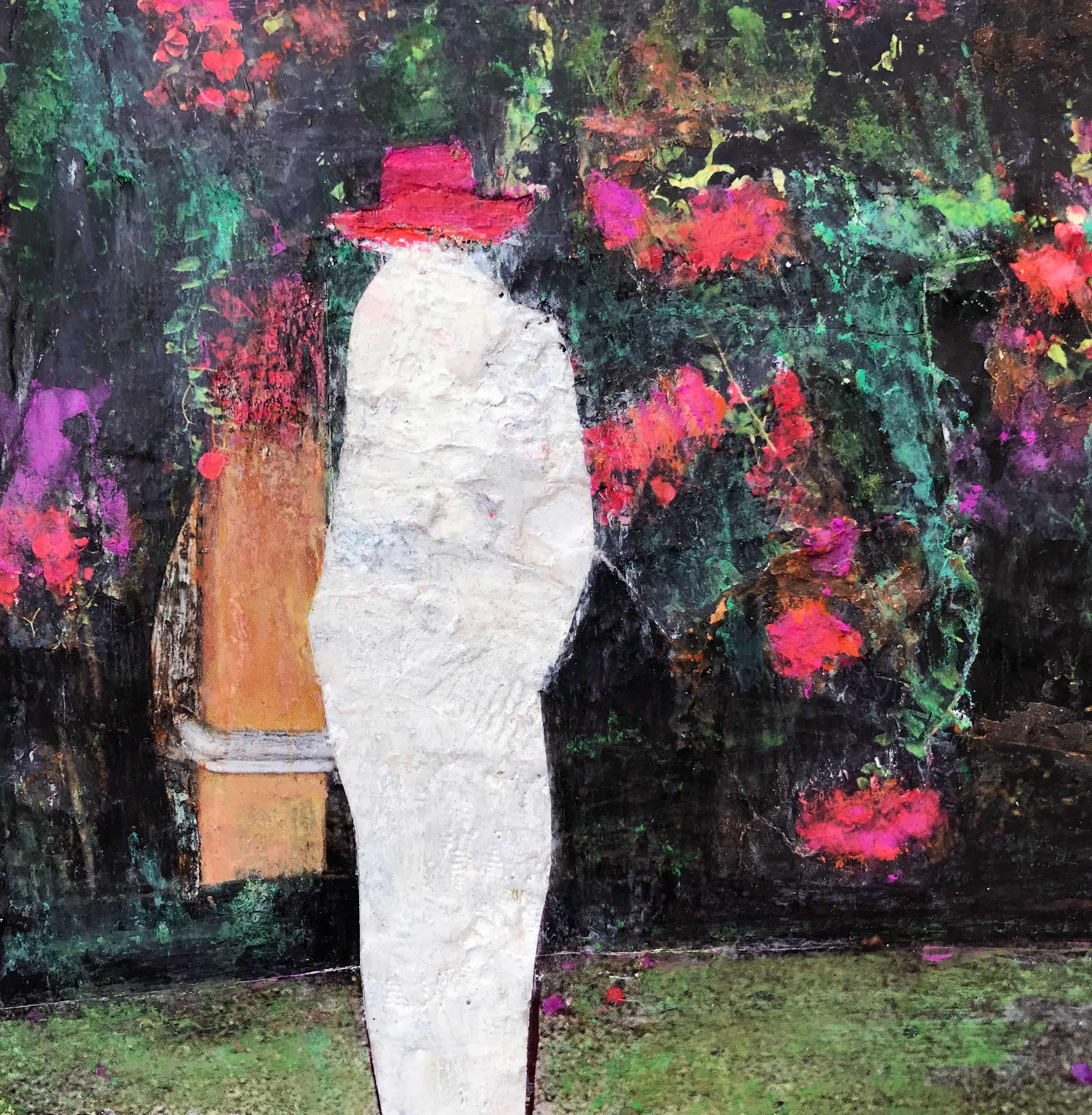 """Secret Garden , mixed-media, encaustic and collage, 7"""" x 7"""""""