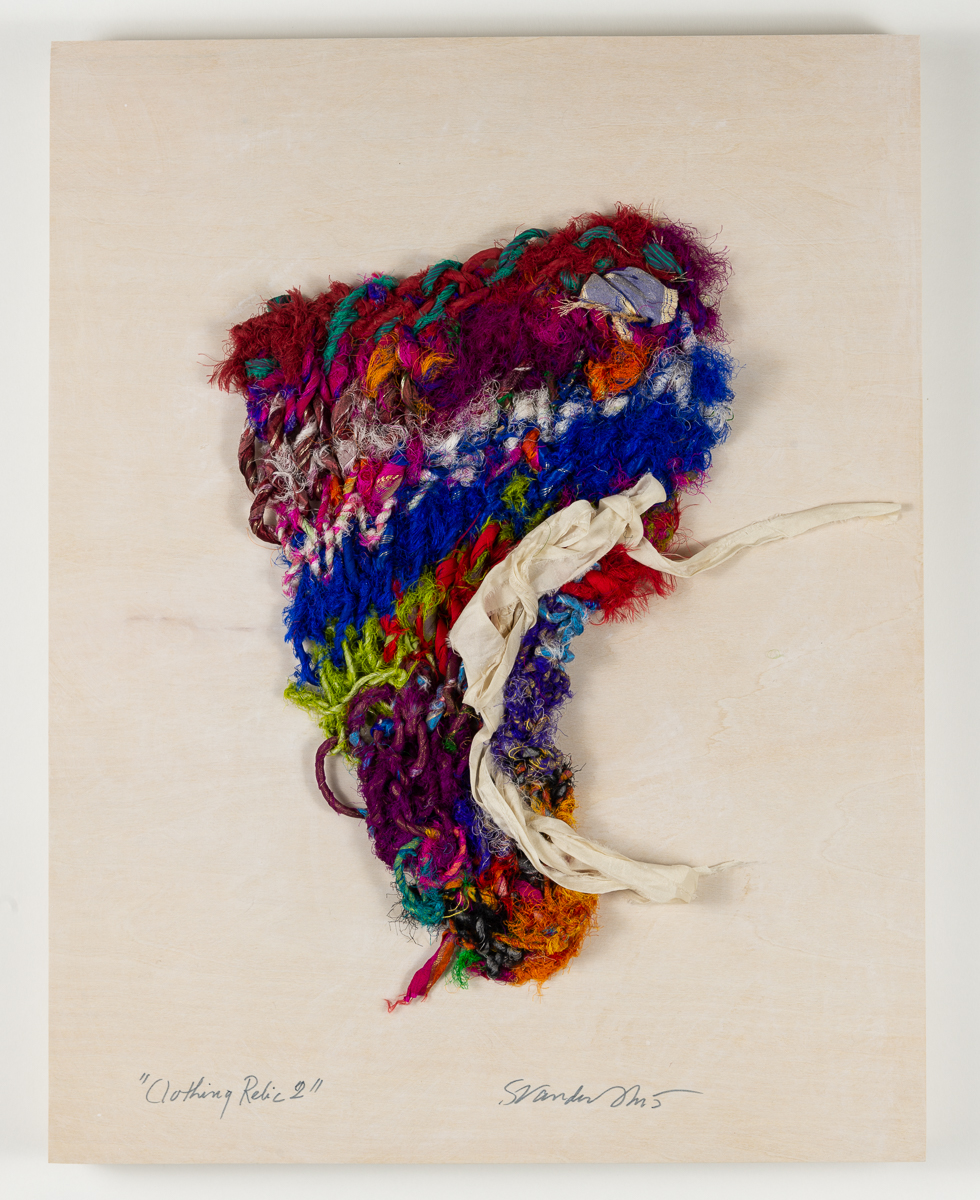 """Clothing Relic 2,"" hand-knit work by Sylvia Vander Sluis in Cambridge Art Association's 2018 RED exhibit"