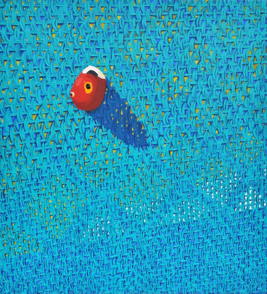 """Andrea Barone,  dot spot , oil on canvas, 23"""" x 21"""""""