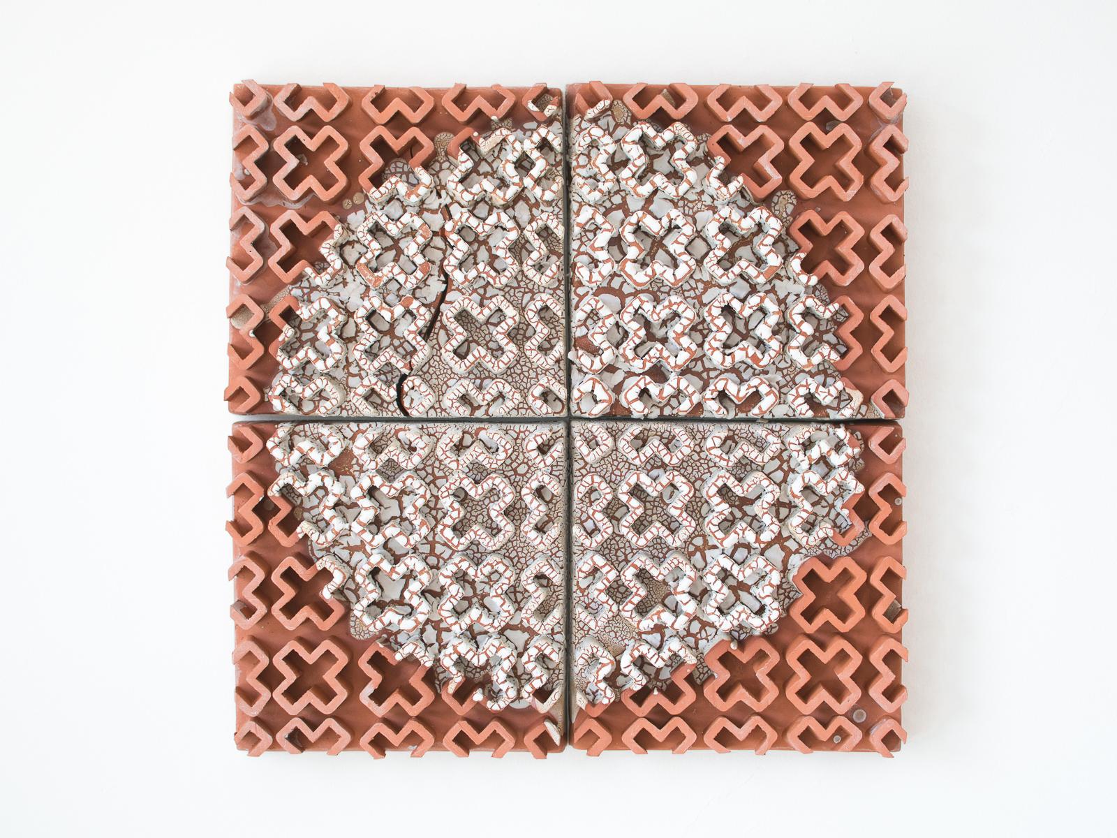 """Geoffrey Booras,  White Dot , glazed terracotta, 19"""" x 19"""" x 2"""""""
