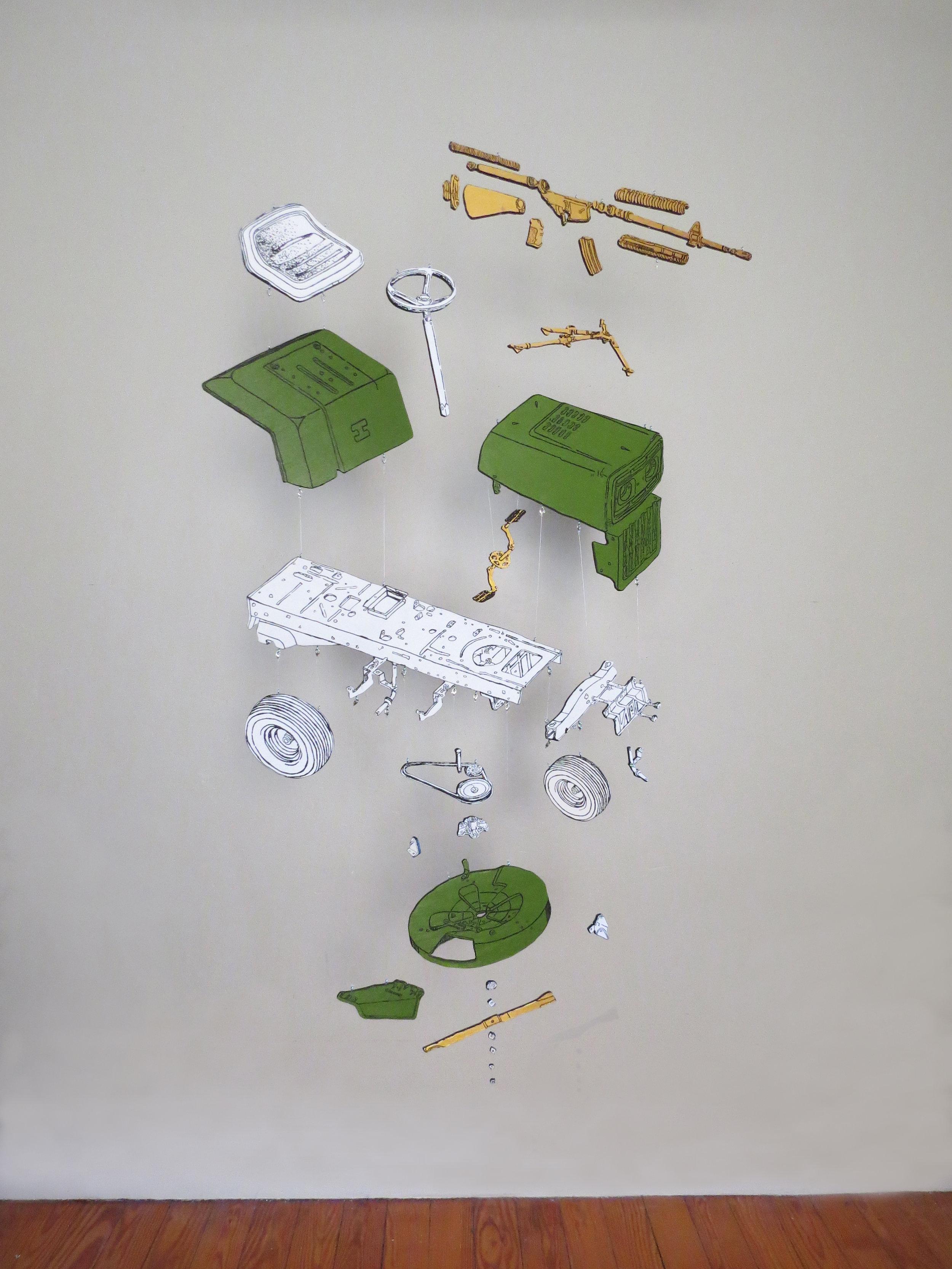John Buron,  Off My Lawn , wood, acrylic and monofilament, 5' x 4'