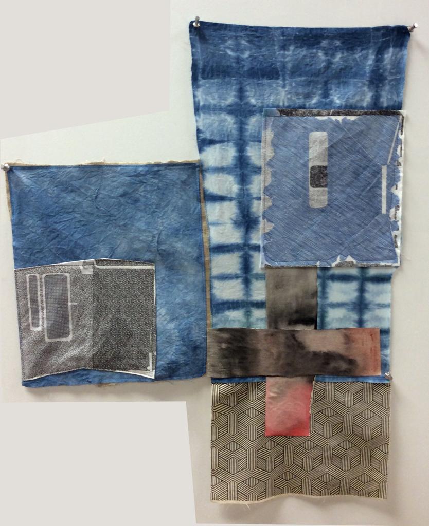 "Kathline Carr,  House of Blue  shibori dye, scanned security envelopes printed on fabric, acrylic stitched on fabric, 28"" x 22"""
