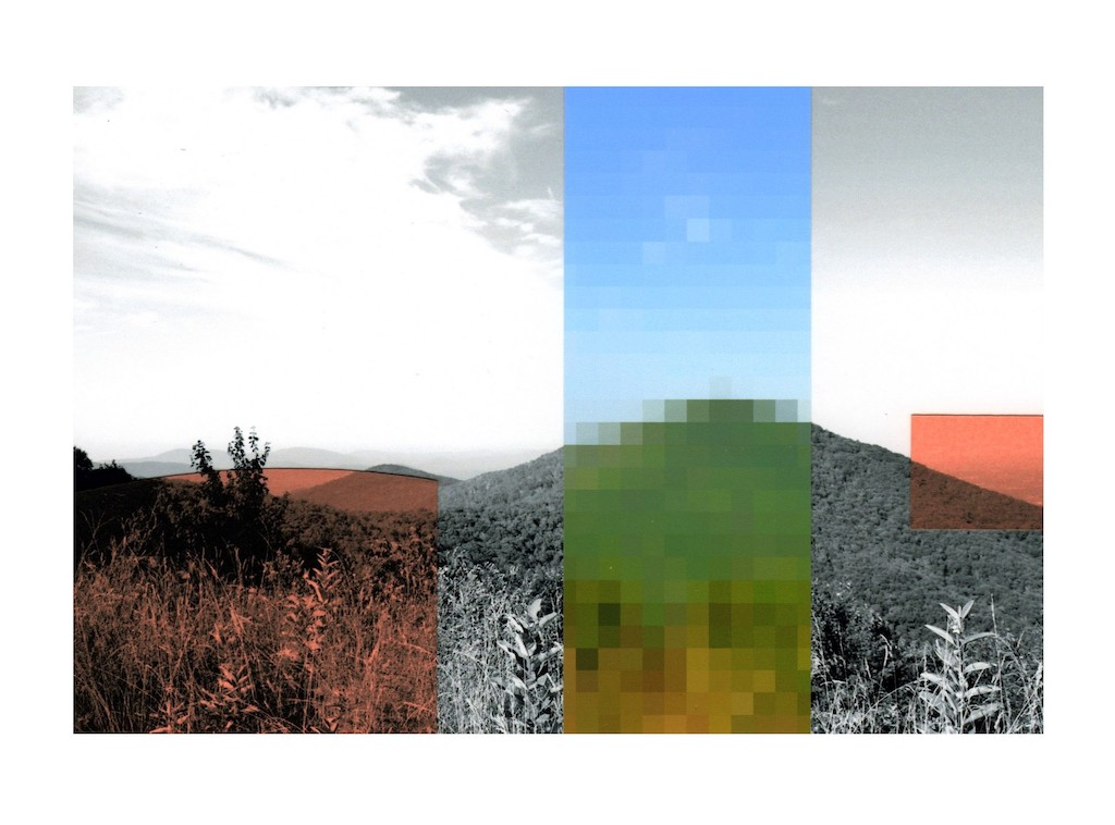 """Patty deGrandpre,  Am I seeing things? (Blue Ridge Mountains) , collaged inkjet prints on photograph, 5""""x7"""""""