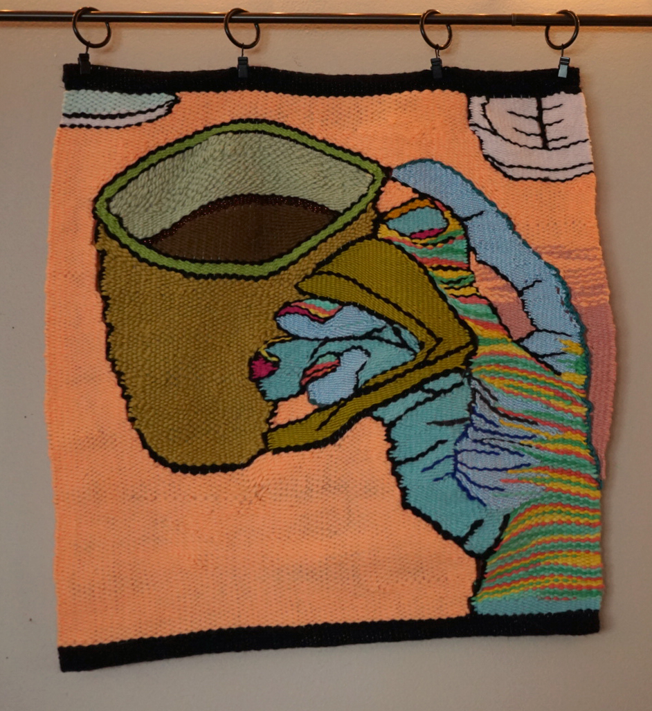 "Sam Dienst,  Coffee Thoughts , yarn tapestry, 20""x18"""