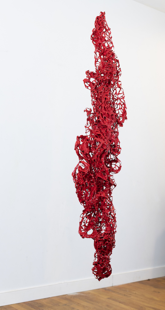 """Susan Emmerson,  Consumed , acrylic and latex on cut molded Tyvek, 54""""x9""""x9"""""""