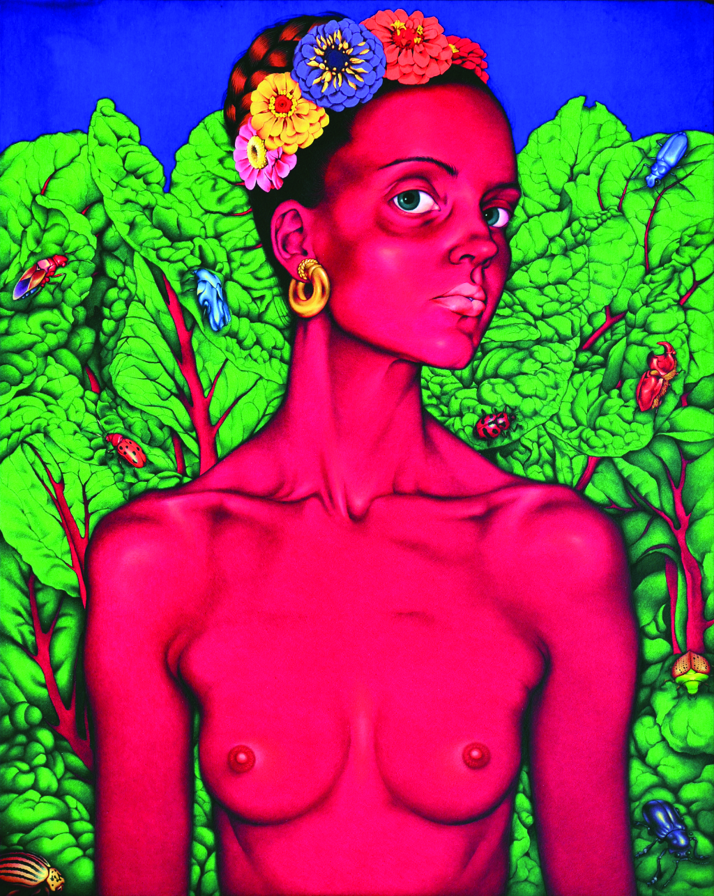 "Arhia Kohlmoos,  Self Portrait as a Beautiful Lady , oil on panel, 11""x14"""