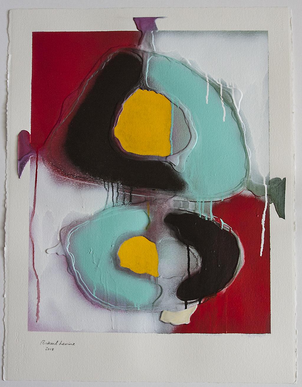 "Richard Levine,  Juxtaposition #3 , acrylic, spray, pouring medium on Arches, 30""x22"""