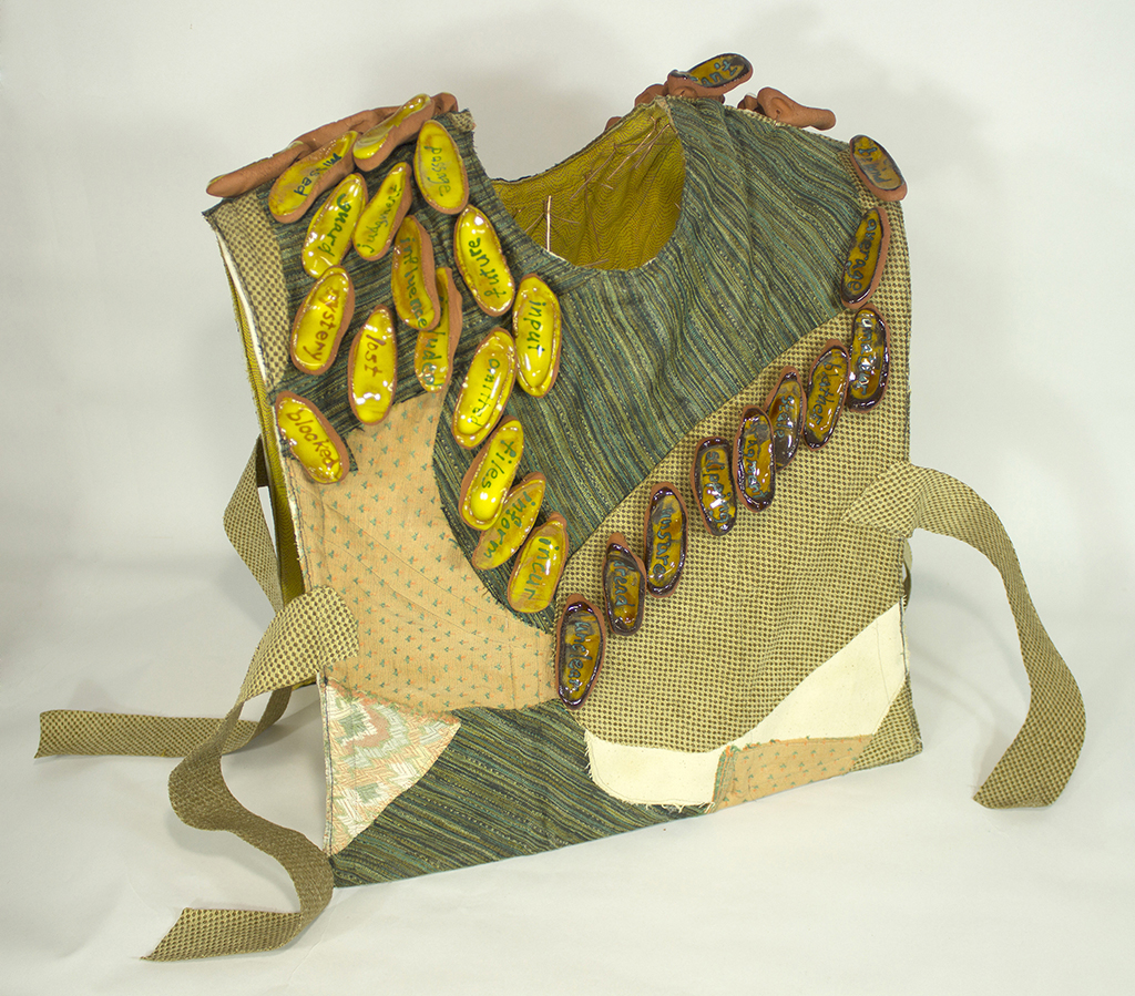 "Virginia Mahoney,  Improvised Work Vest , ceramic, fiber, metal and acrylic, 20""x18""x12"""
