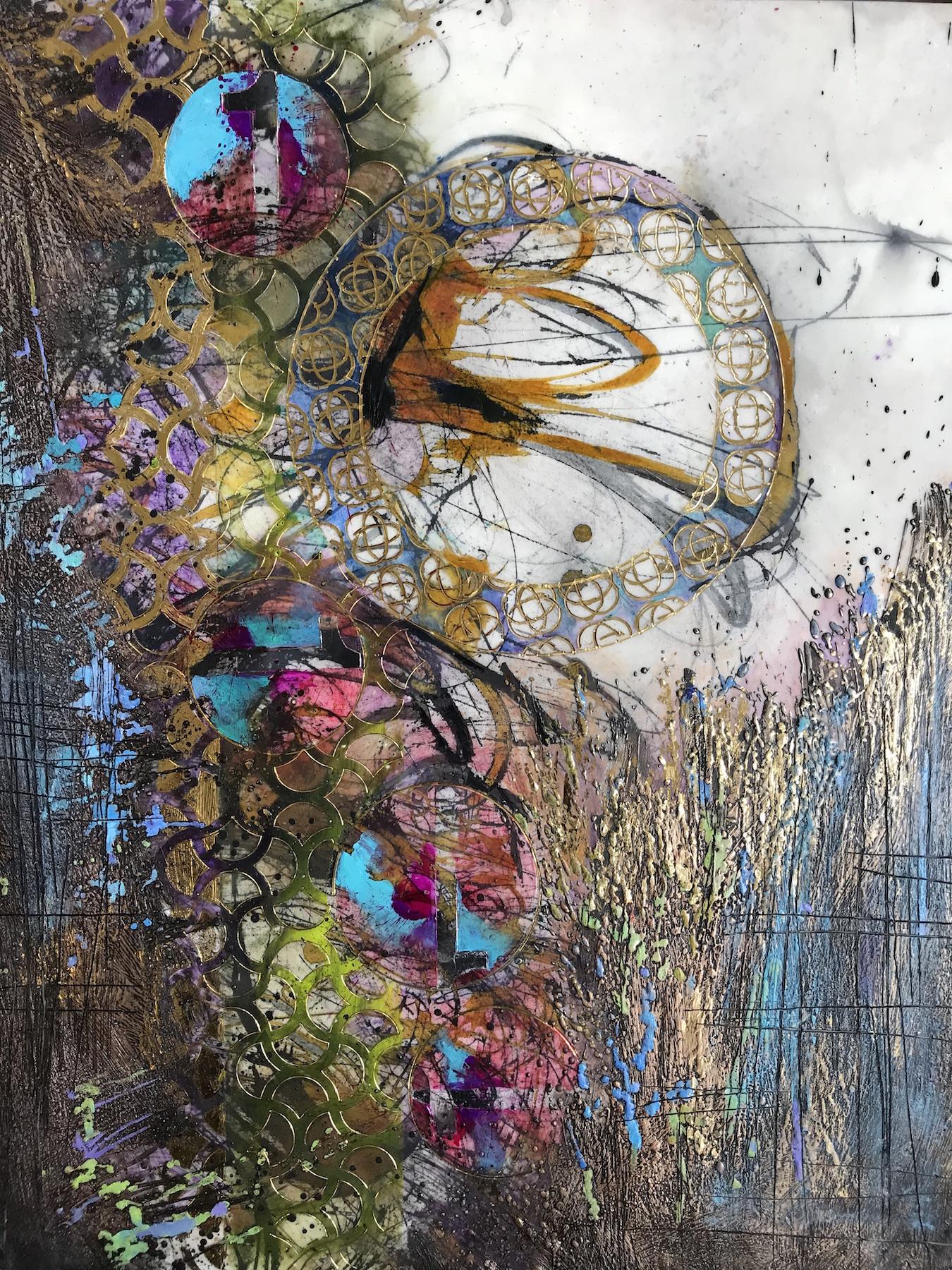 "Mary Marley,  One Good Turn , encaustic painting, 20""x16"""