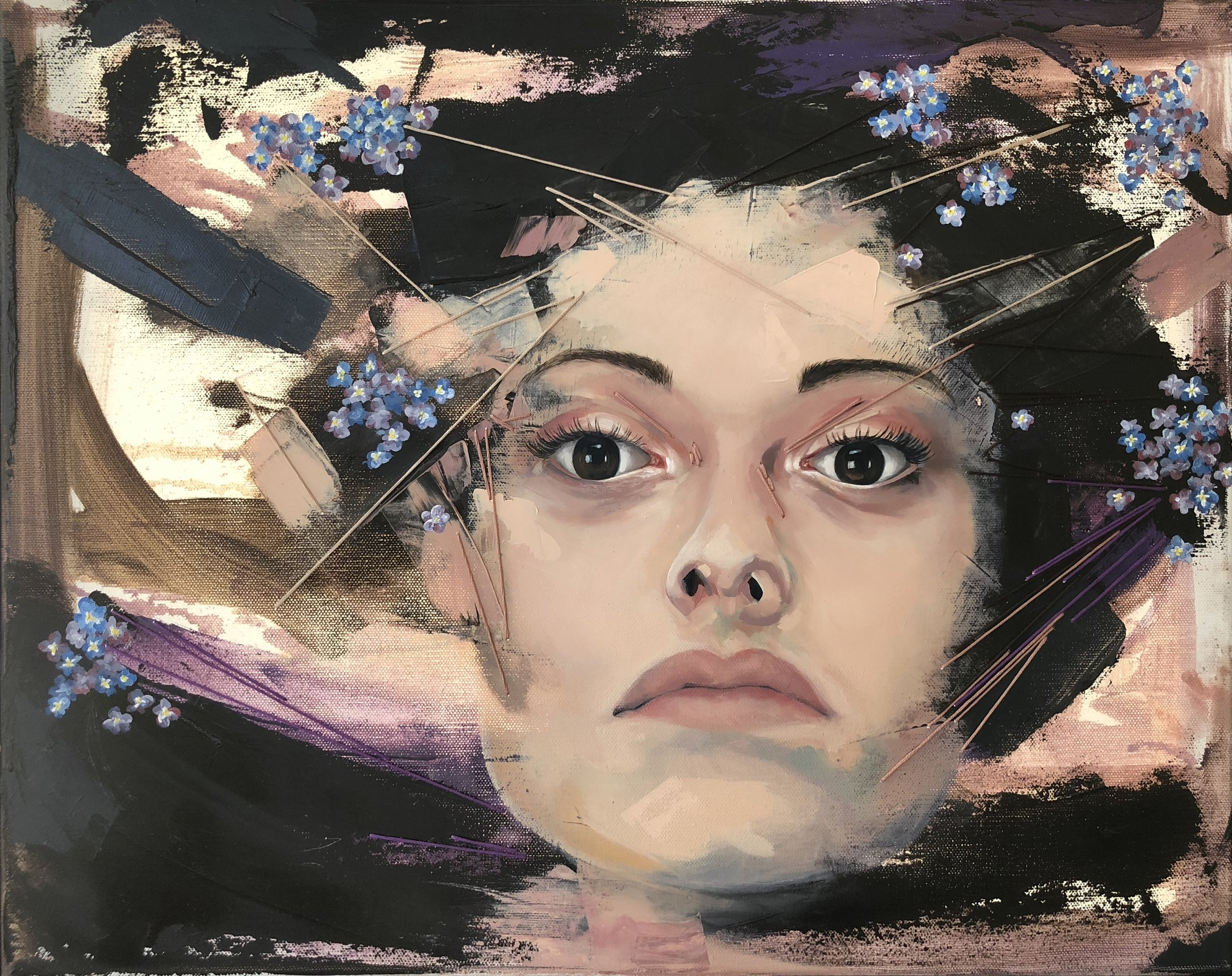 """Allison Meriwether,  Forget Me Not , oil and embroidery thread on canvas, 20""""x16"""""""