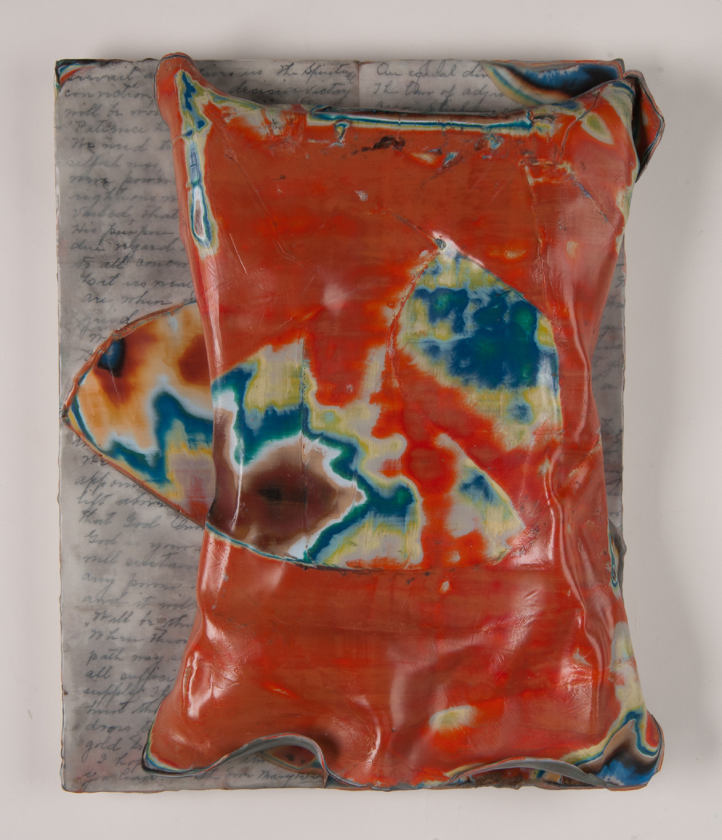 """Stephanie Roberts-Camello,  Where the two shall meet  encaustic relief, wood, graphite and old letters, 12.5""""x15""""x2.75"""""""