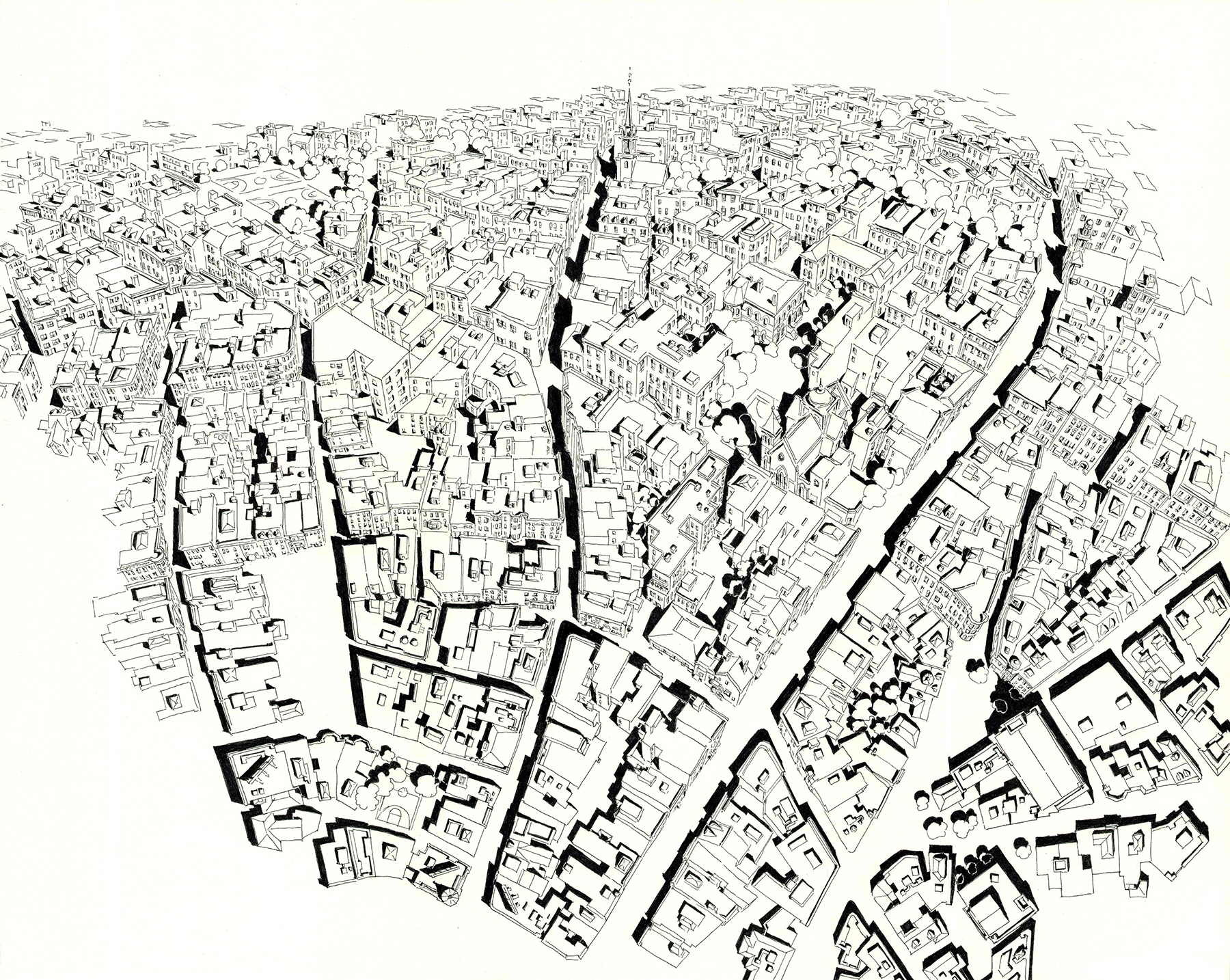 New England Urbanism , ink on paper, 20 x 26 inches