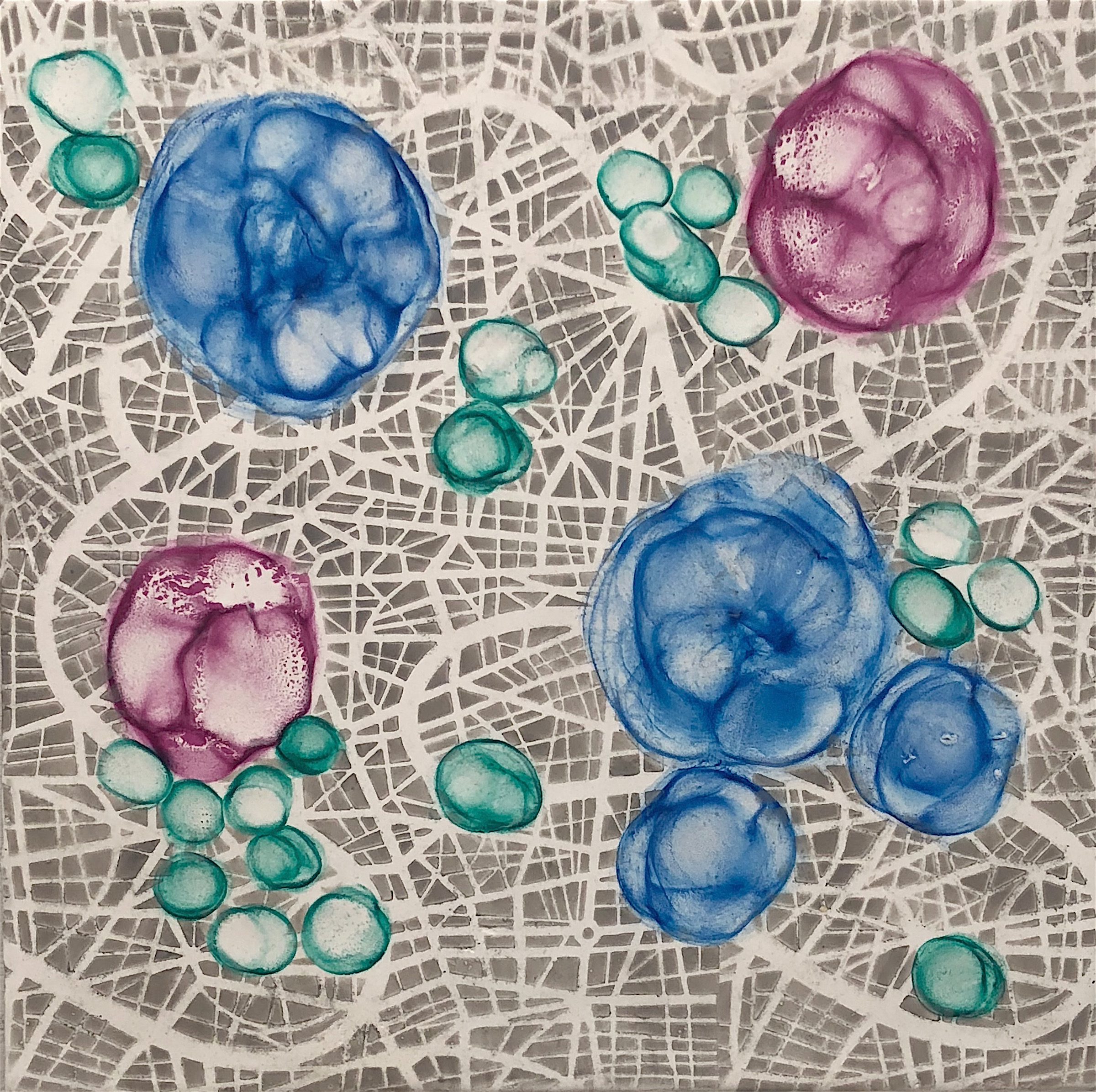 Hartung,  Bio Networks 6 , Encaustic, pastel, 12x12