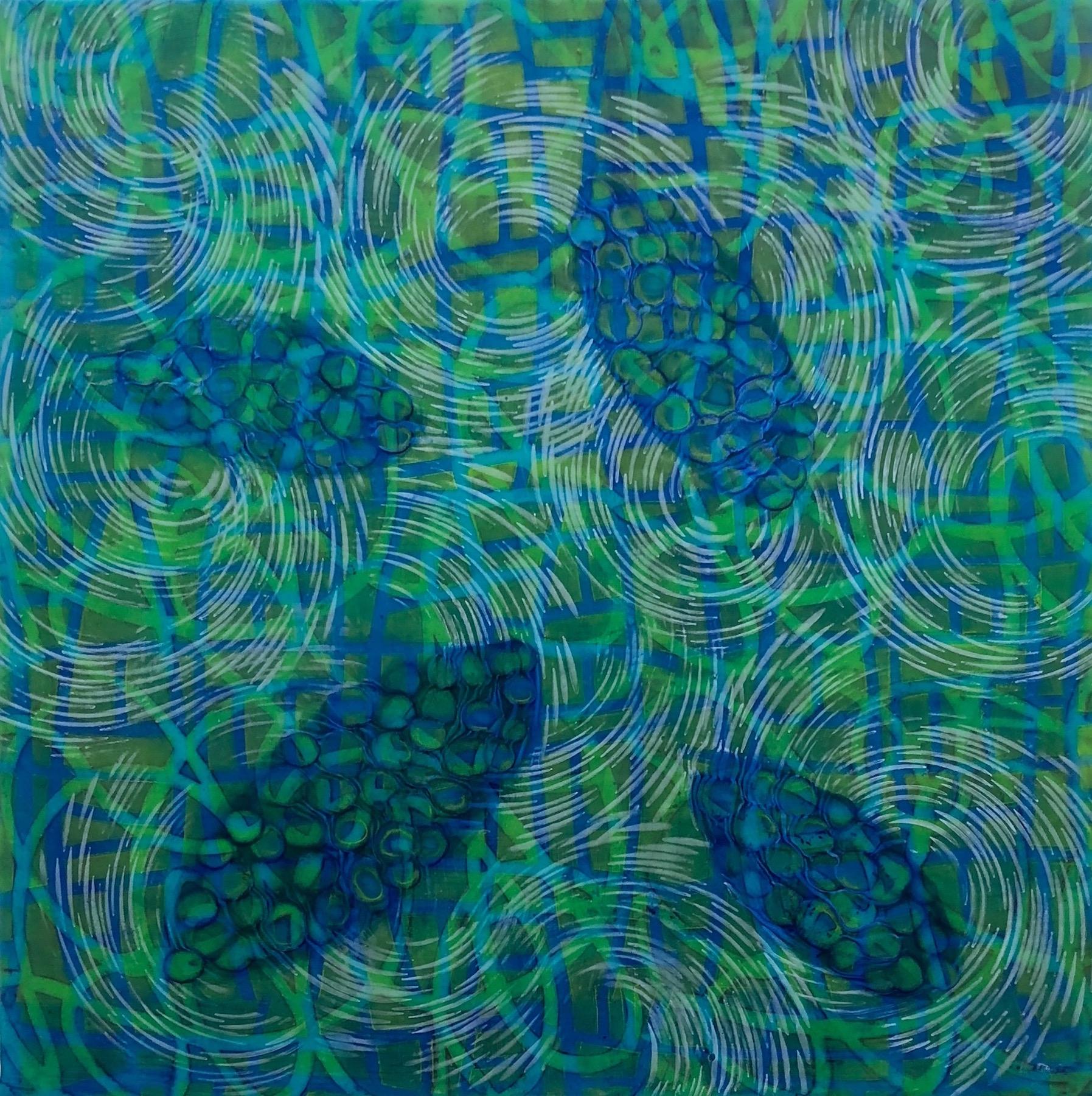 Hartung,  Bio Patterns 13 , Encaustic, pastel, 18x18