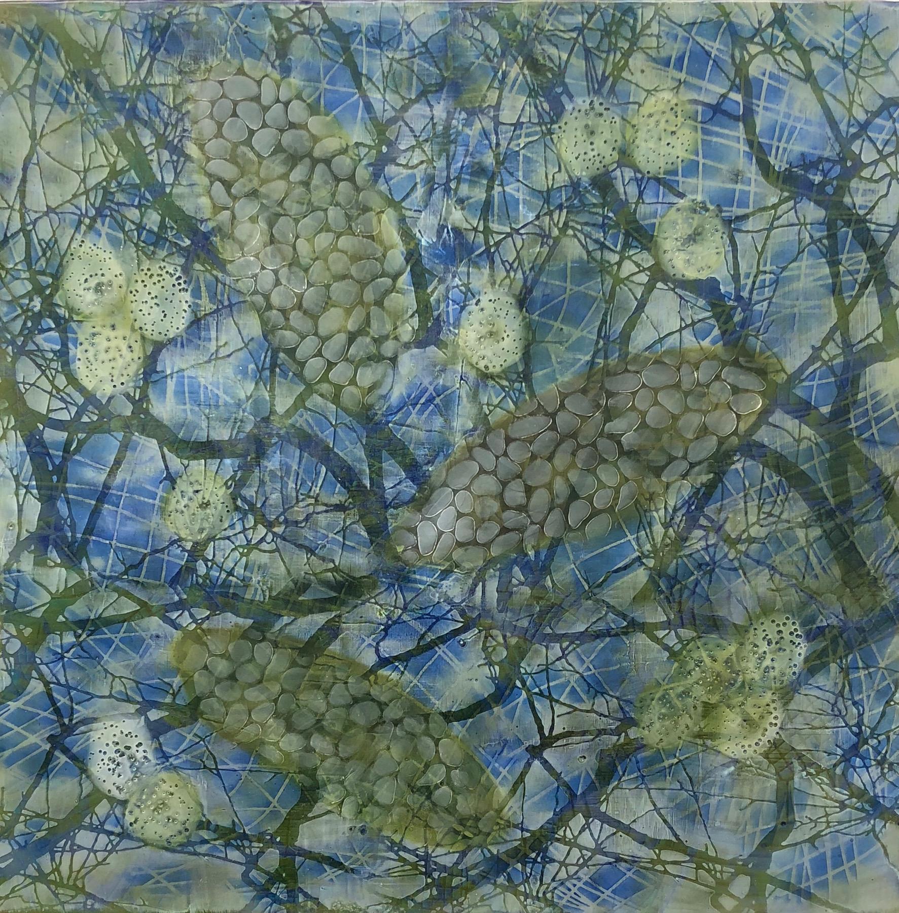 Hartung,  Bio Patterns 16 , Encaustic, pastel, 18x18