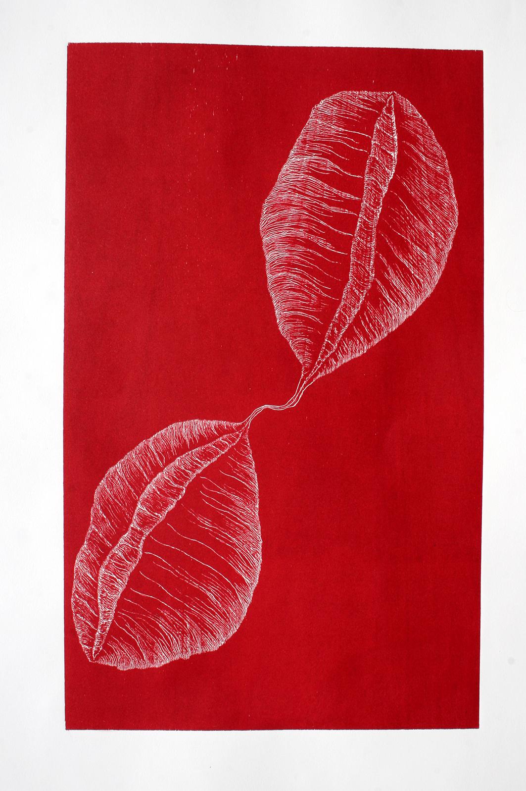 Penil Cobo,  Conexion 1 , Woodcut print, 40x28