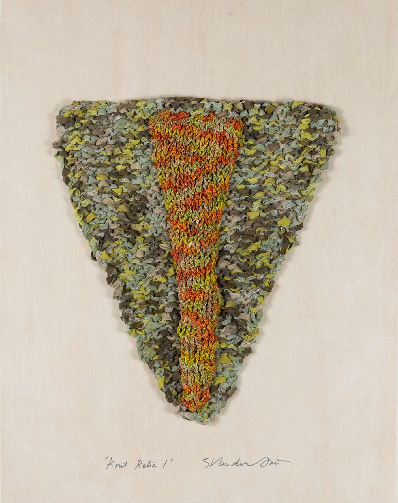 """Knit Relic 1 (Green/Orange),"" Handknit by Sylvia Vander Sluis - one of three fiber works at Attleboro Art Museum"