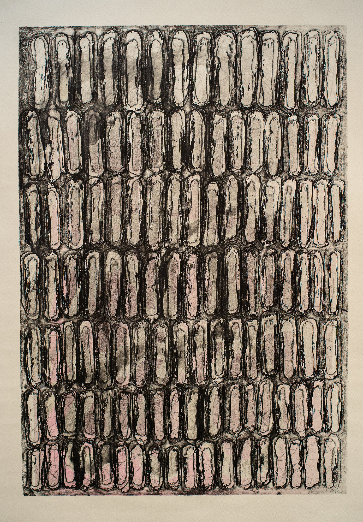 One Hundred and Eighteen Marks , copperplate open bite, drypoint and aquatint etching, 22-1/4 x 33-1/2 inches