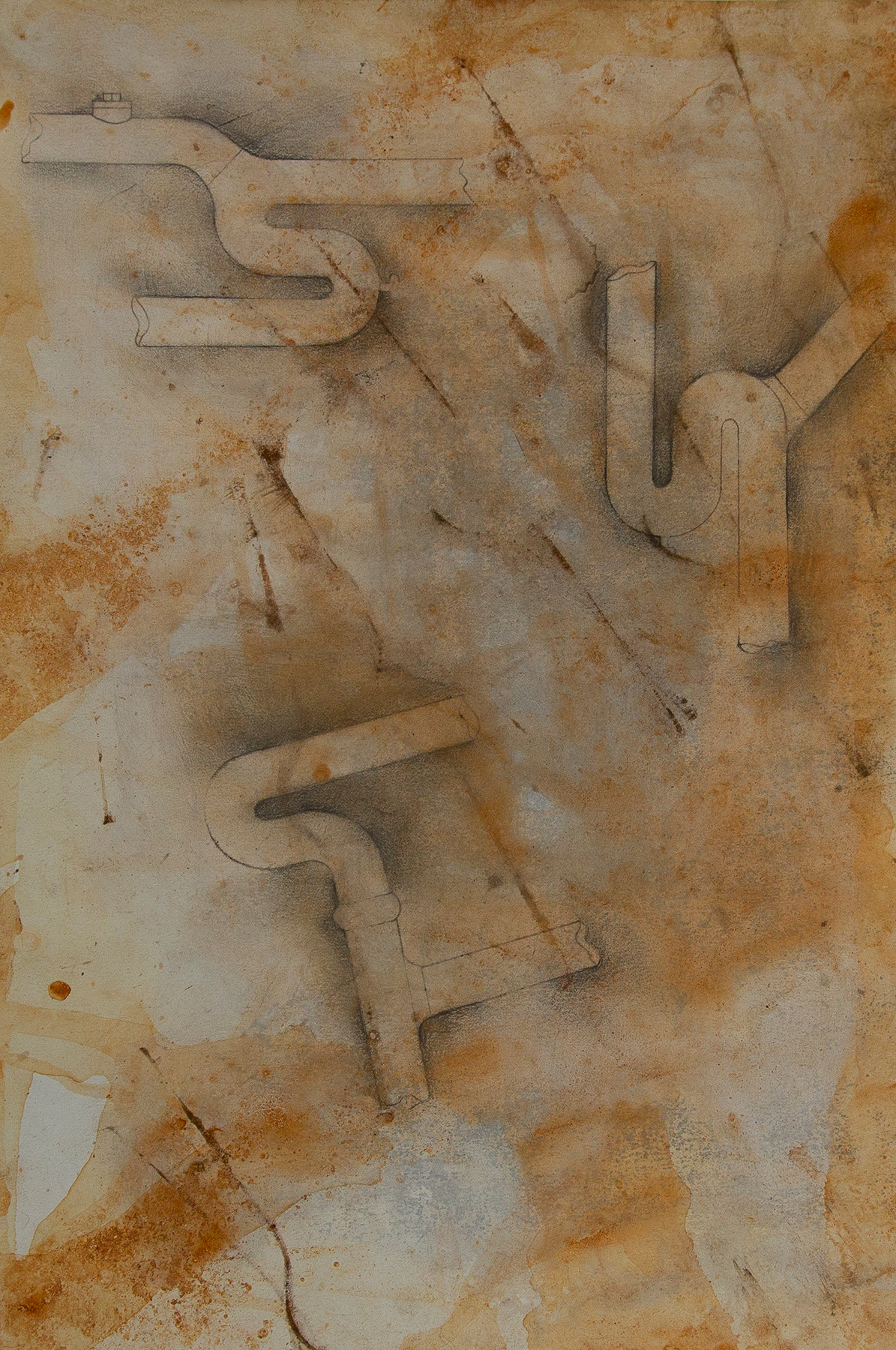 Pipe #1,  mixed media on paper with rust collected from plumbing equipment, 12 x 18