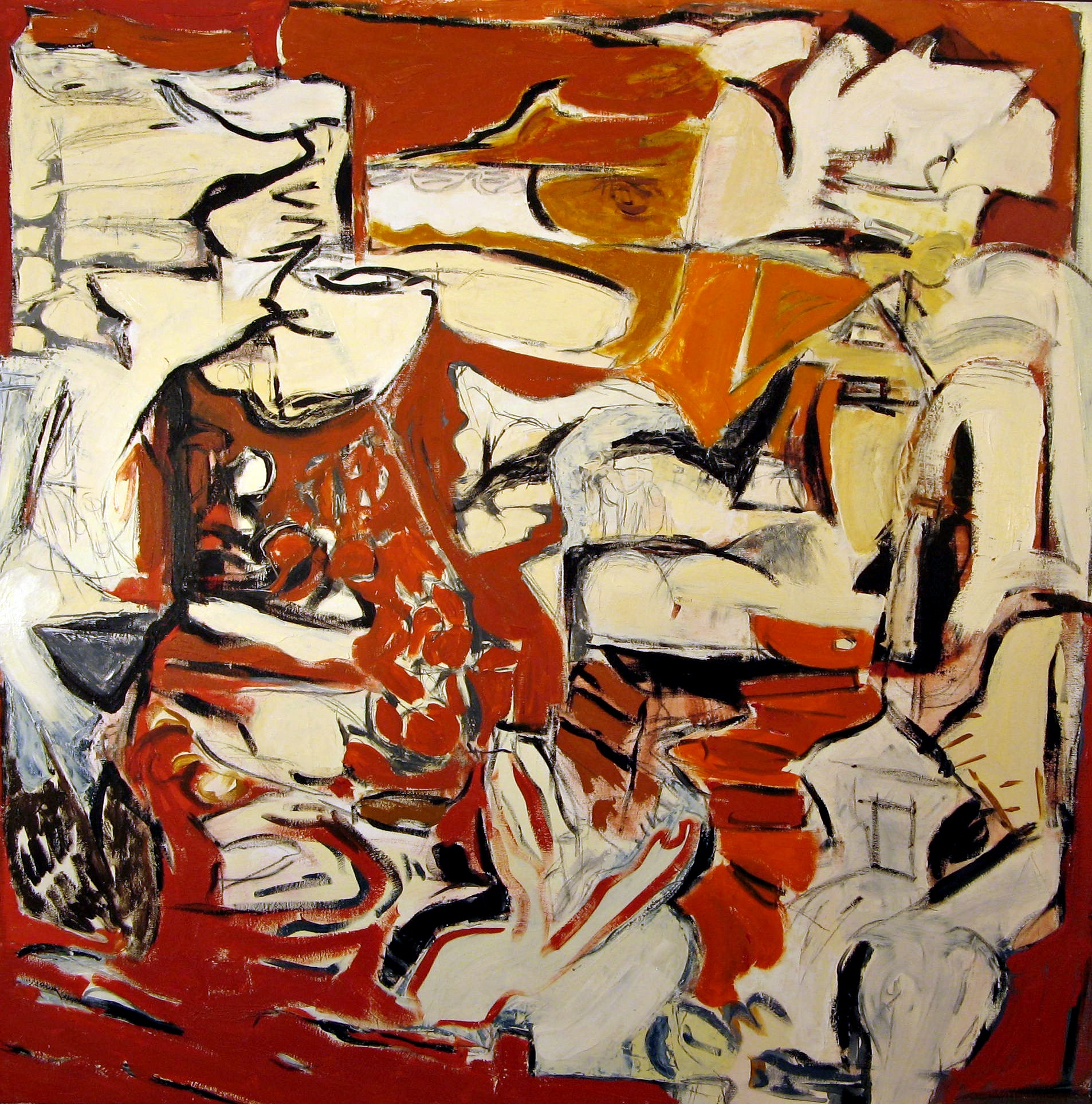 Osterman,  Red Friday , Oil on canvas, 44x44
