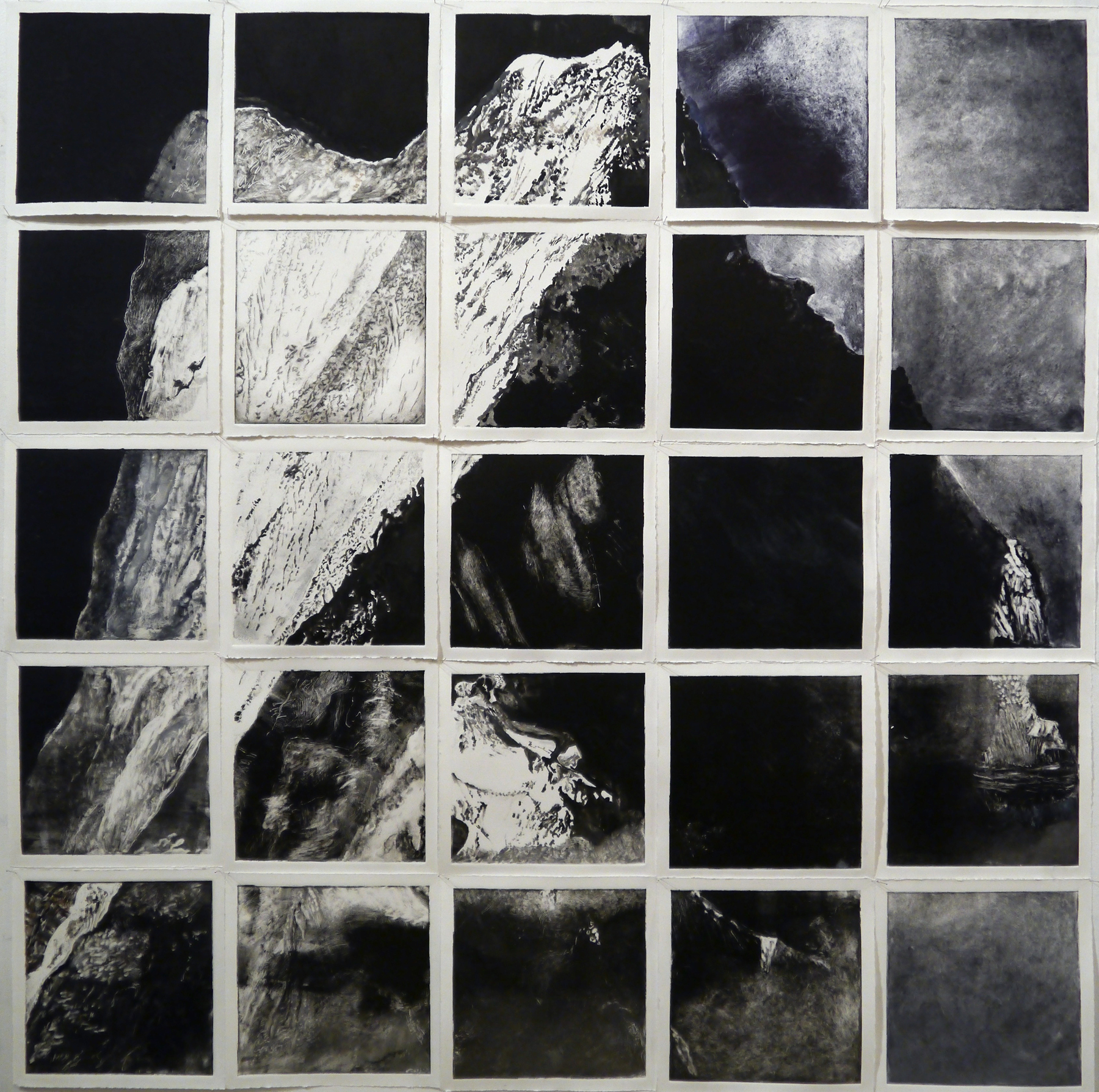 "Mountain: 25 Views , monotype installation, 45"" x 45"""