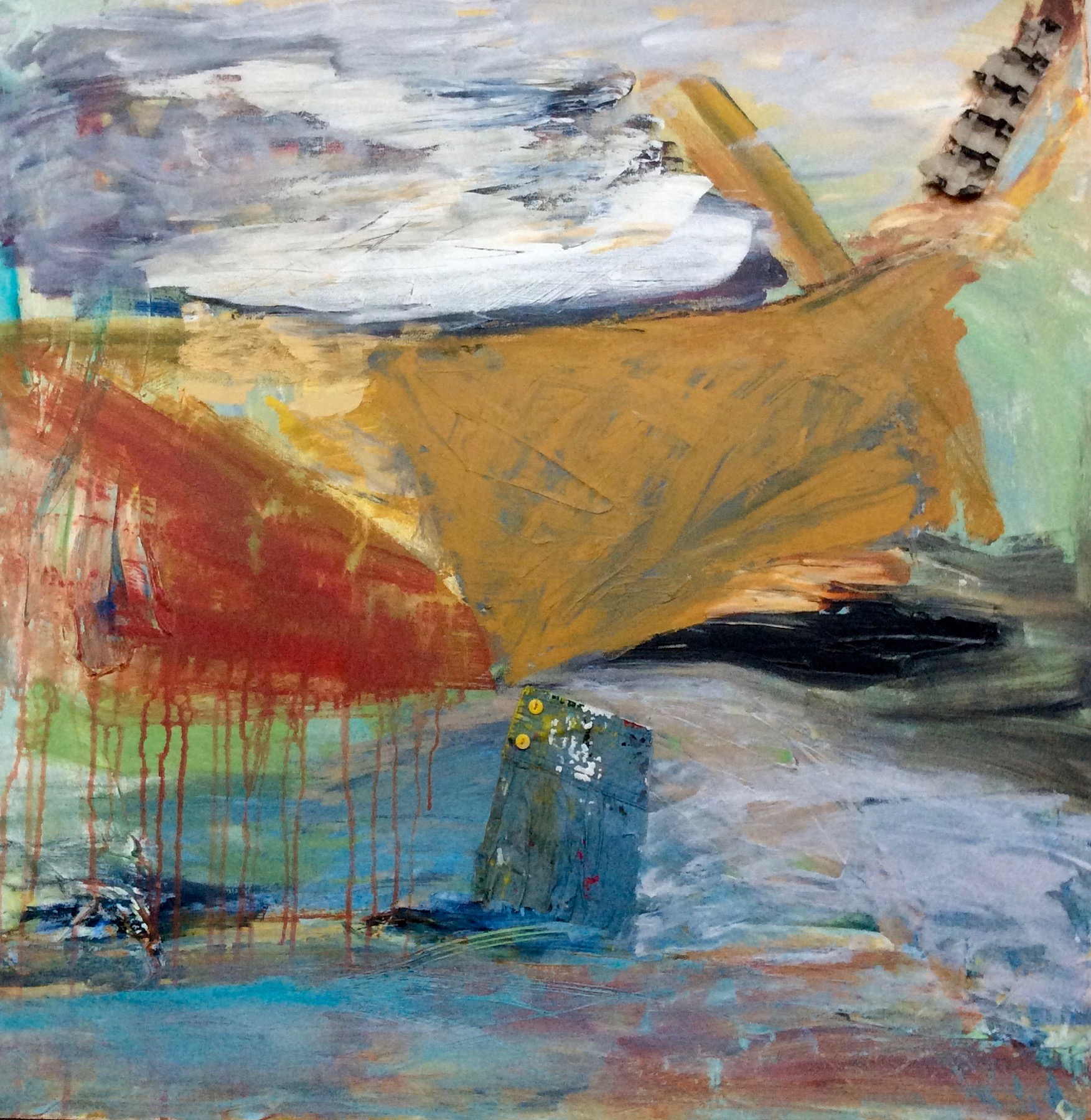 Refugee Ship with Shirtcuff , acrylic, mixed media on canvas, 36 x 36 inches,
