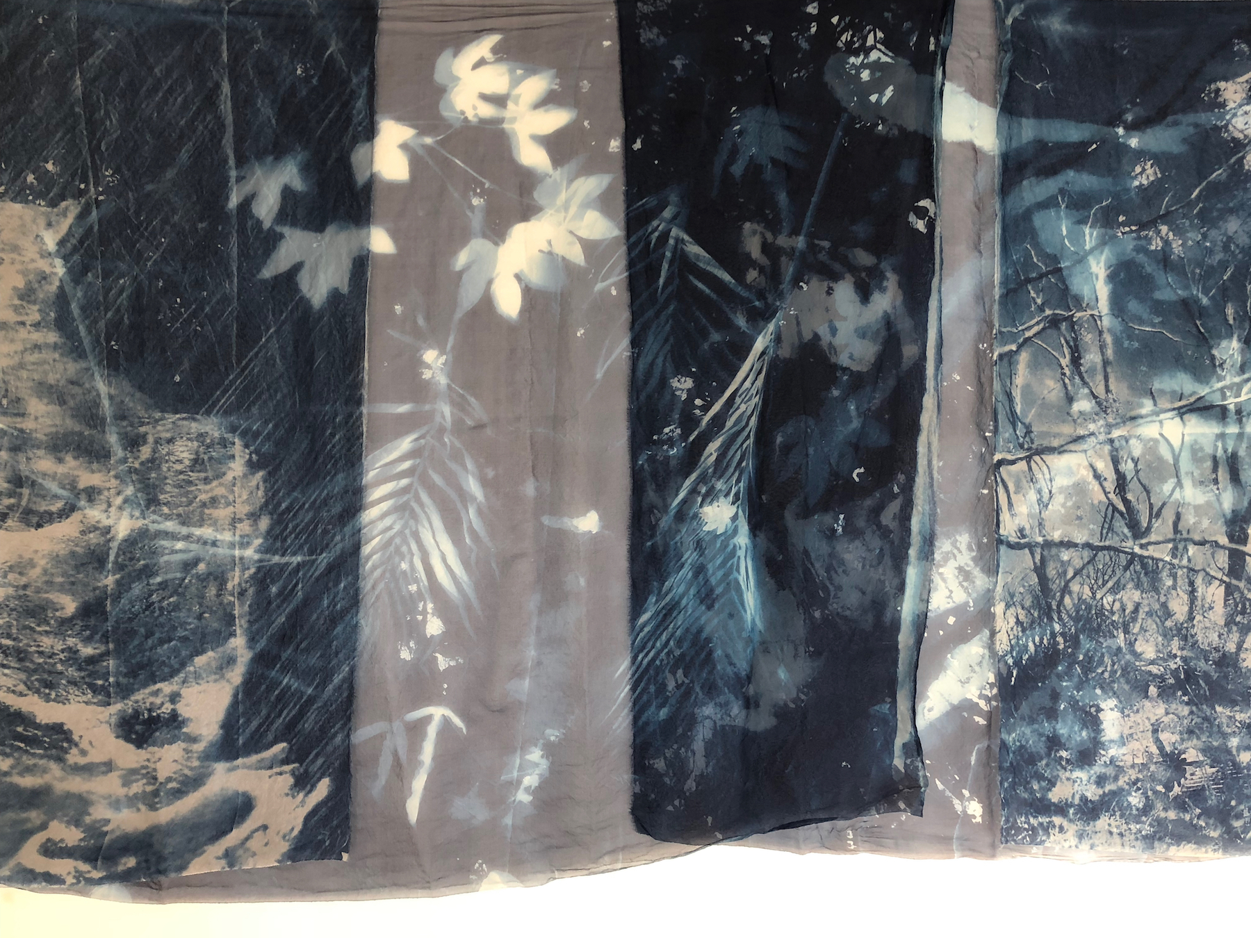 Marie Craig,  Natural Consequences Installation (detail),  cyanotype on silk organza