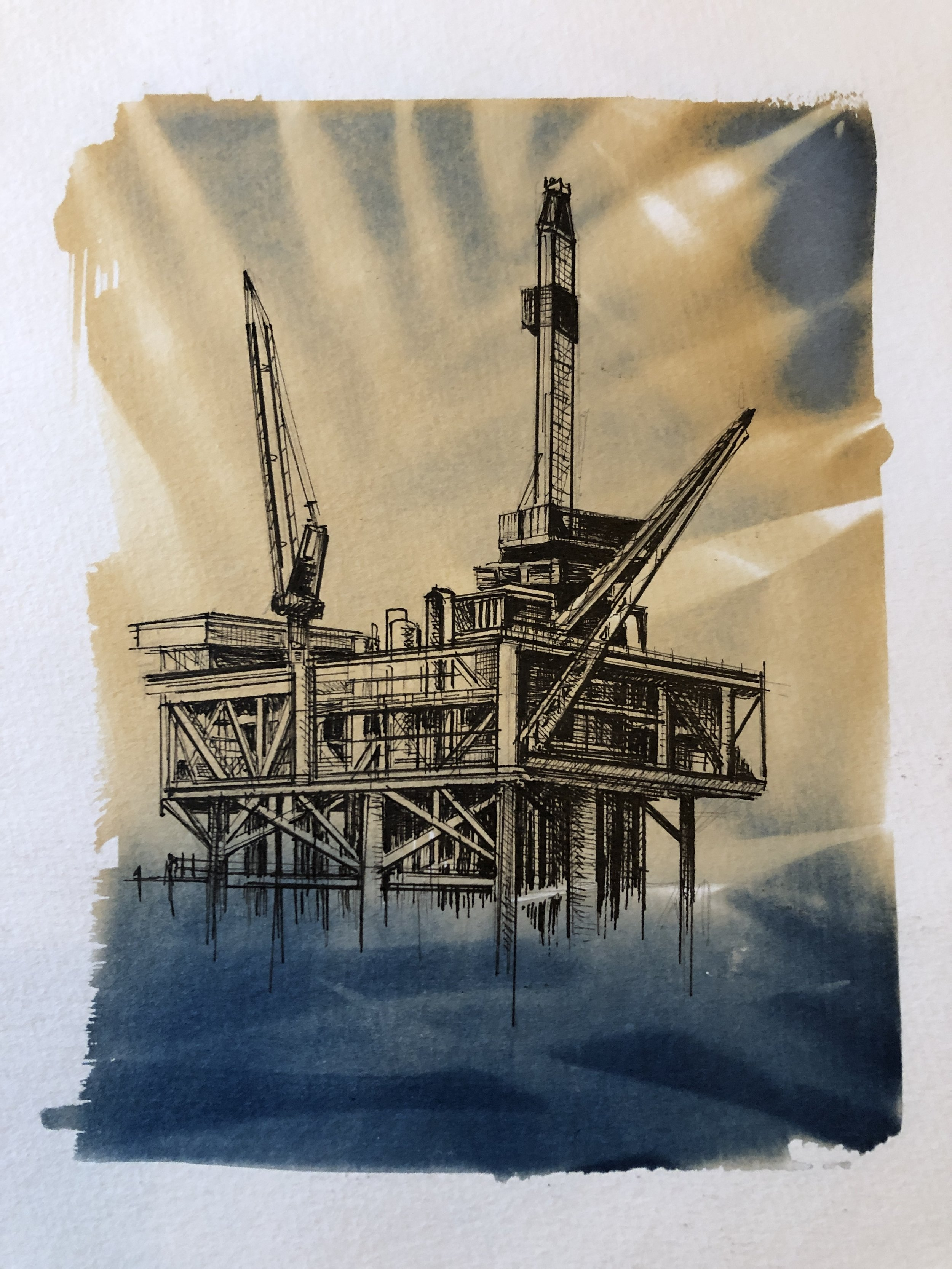 Marie Craig,  Entanglement 8 (offshore rig)  pen and ink on toned cyanotype photograph, 6 x 8 inches.