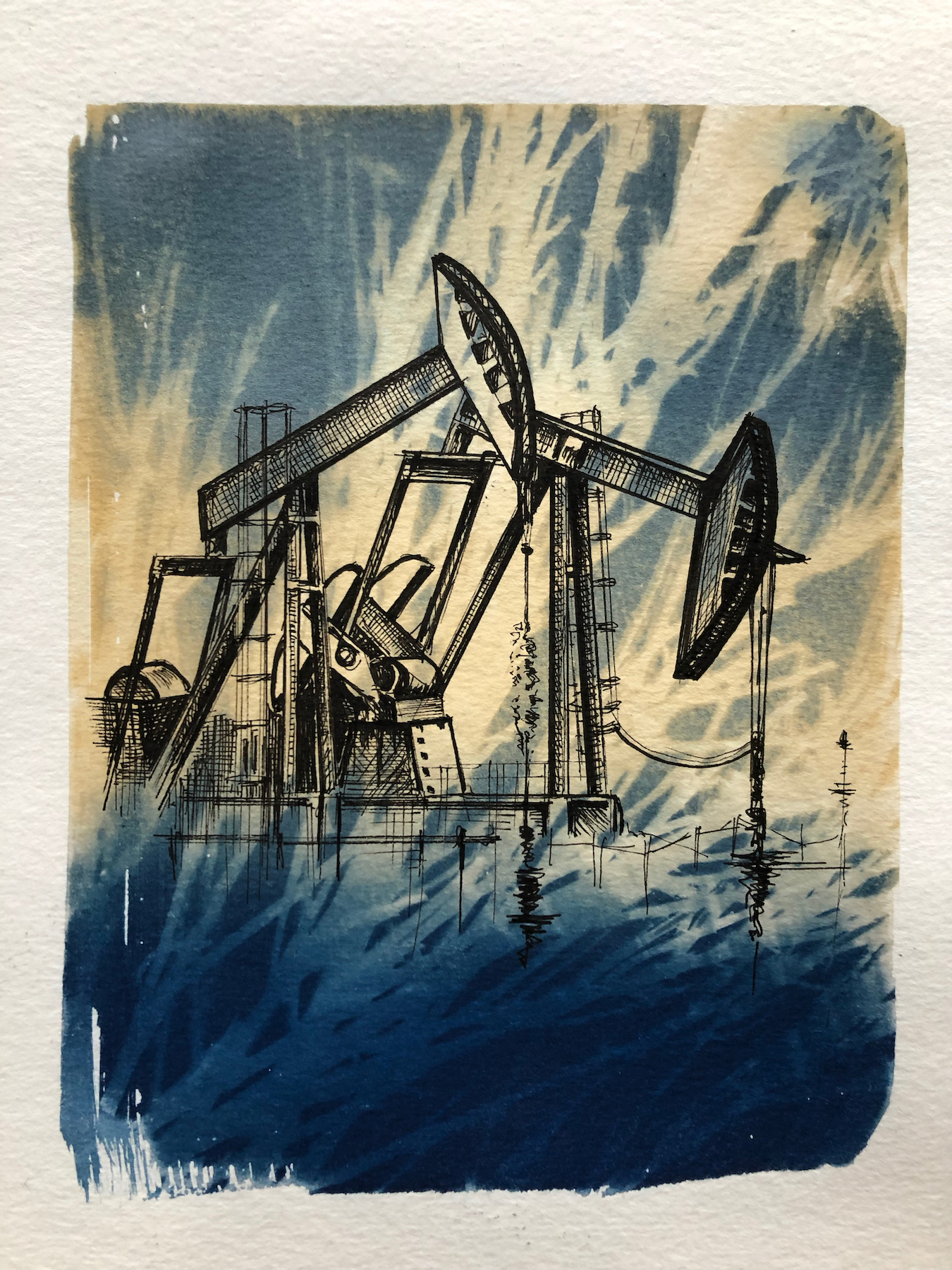 Marie Craig,  Entanglement 5 (fracking),  pen and ink on toned cyanotype photograph, 6 x 8 inches.
