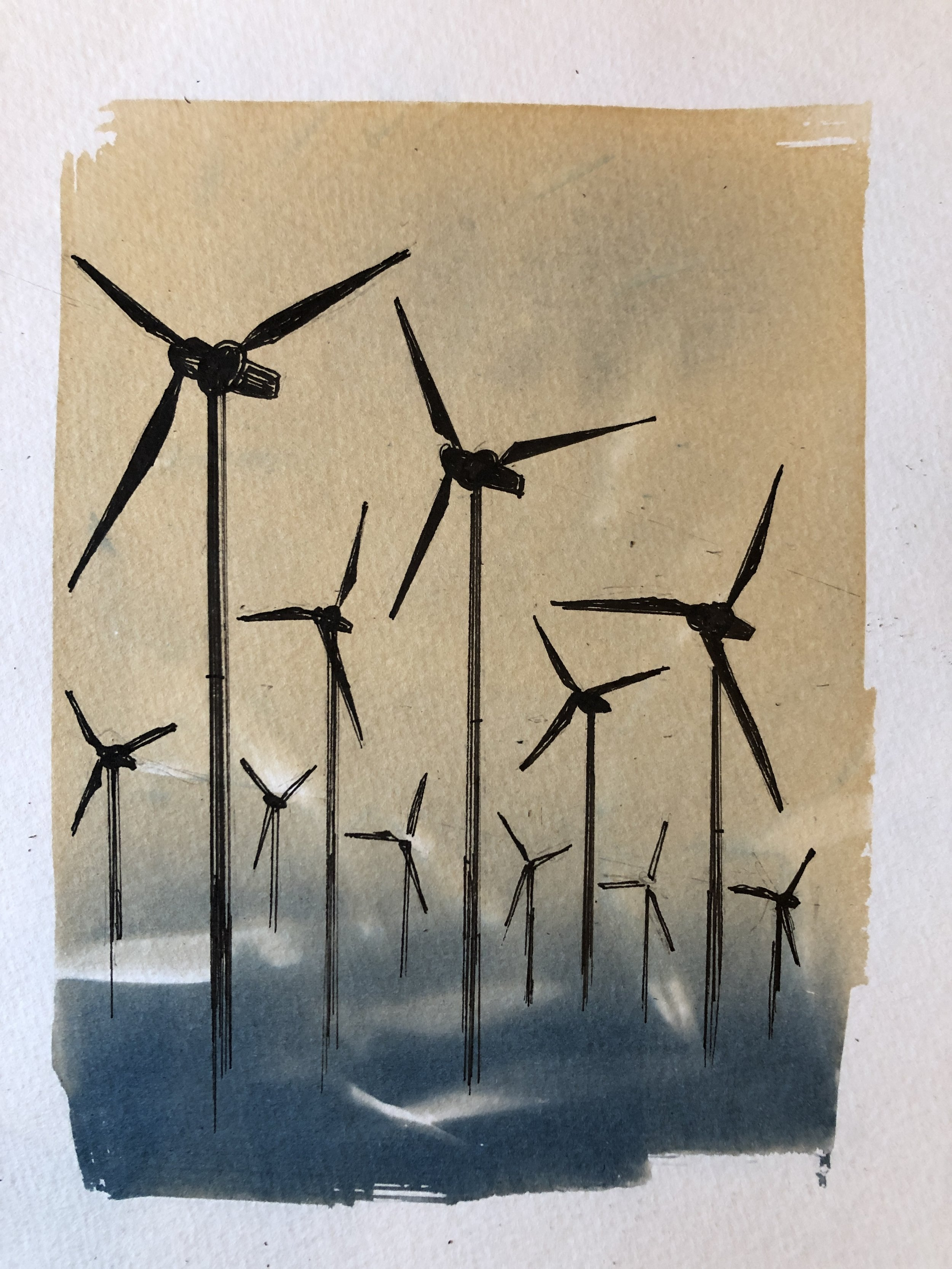 Marie Craig,  Entanglement 9 (wind turbines),  pen and ink on toned cyanotype photograph, 6 x 8 inches.