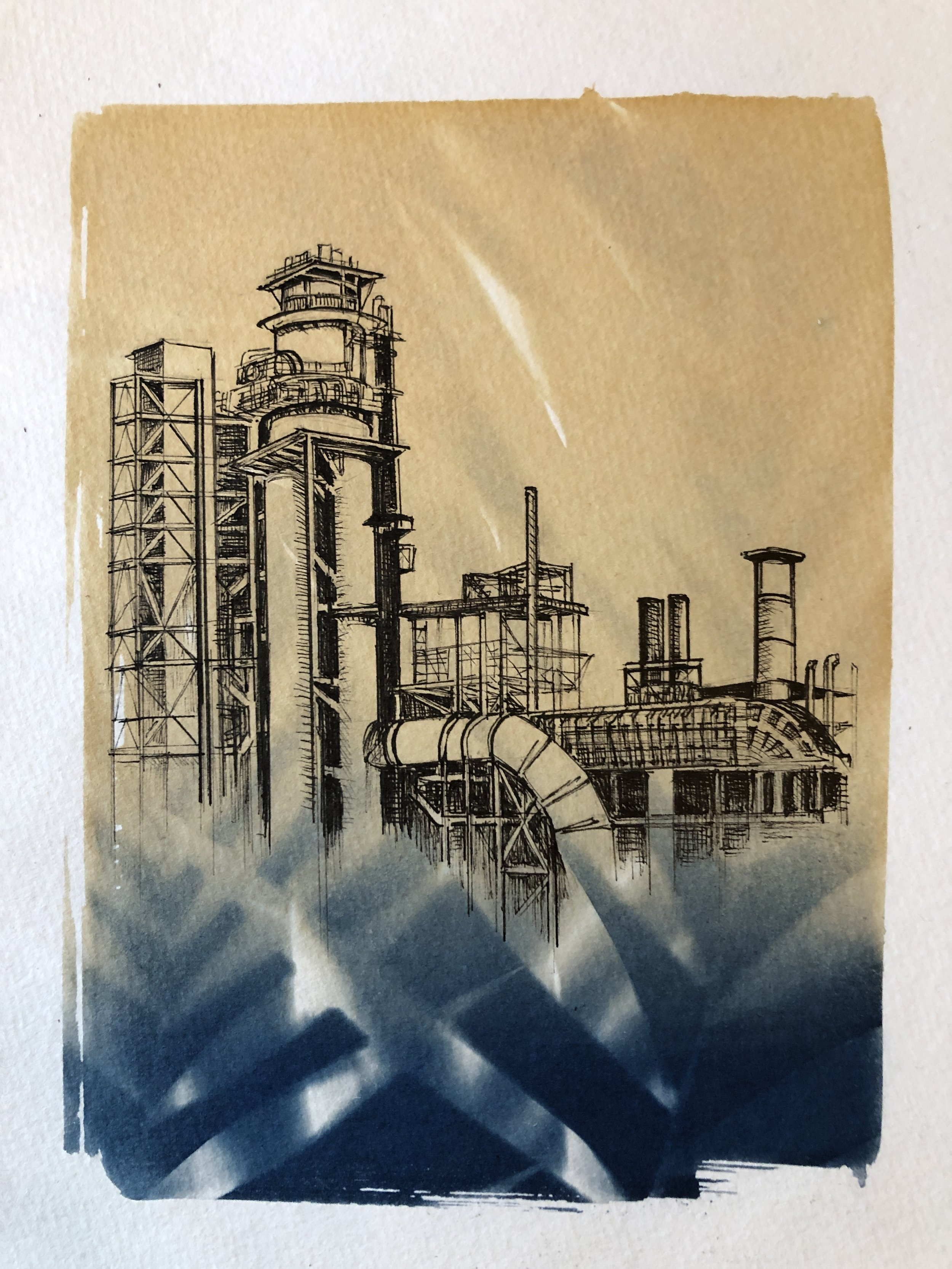 Marie Craig,  Entanglement 12 (oil refinery),  pen and ink on toned cyanotype photograph, 6 x 8 inches.