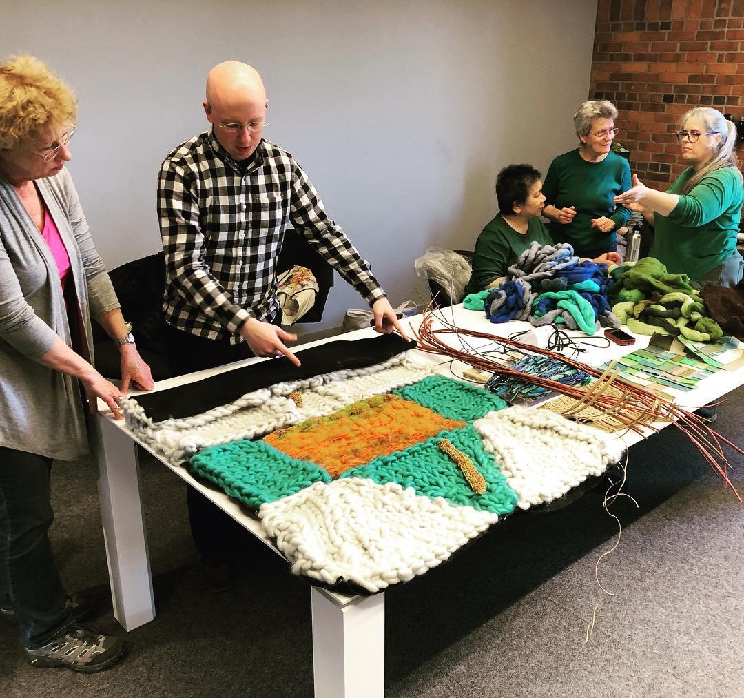 """Work in Progress for """"Please Touch the Art"""" exhibit, Sylvia Vander Sluis  (left)  and other Surface Design MA/RI chapter members"""
