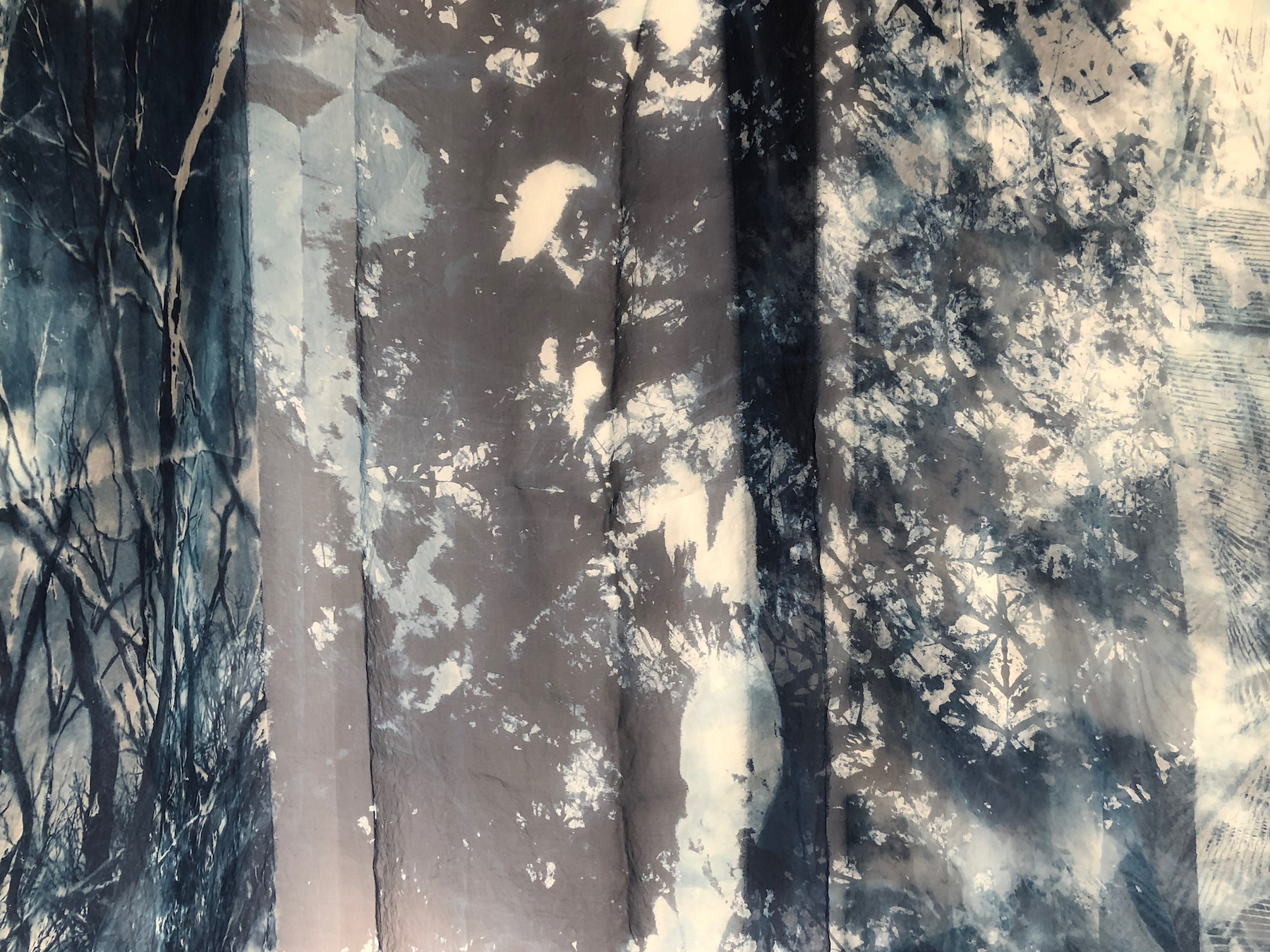 """Installation detail of """"Natural Consequences"""" cyanotype on silk organza by Marie Craig (courtesy of the artist and Fountain Street Gallery, Boston)."""