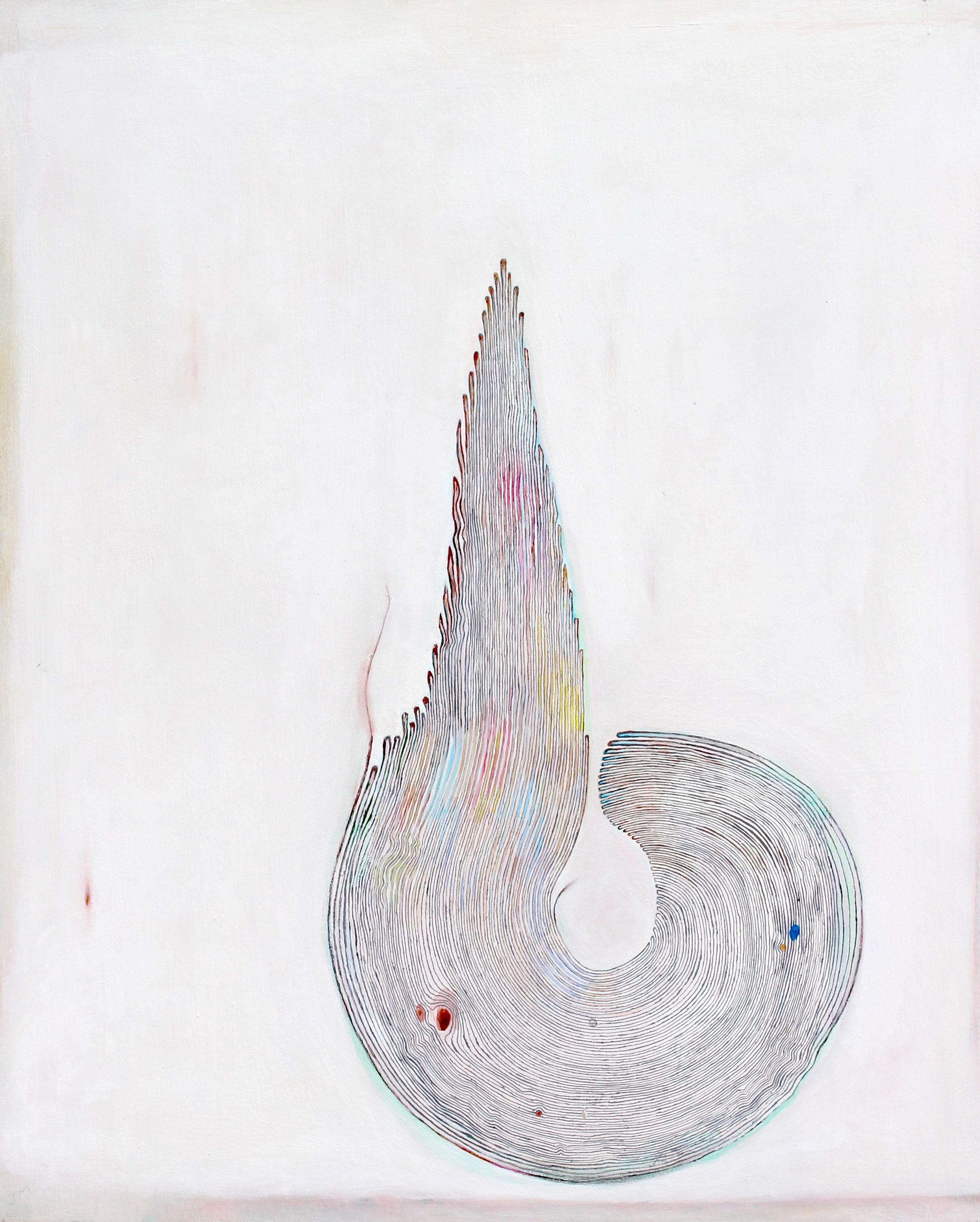 Joel Moskowitz,  Unspooled , Acrylic on wood panel, 30x24