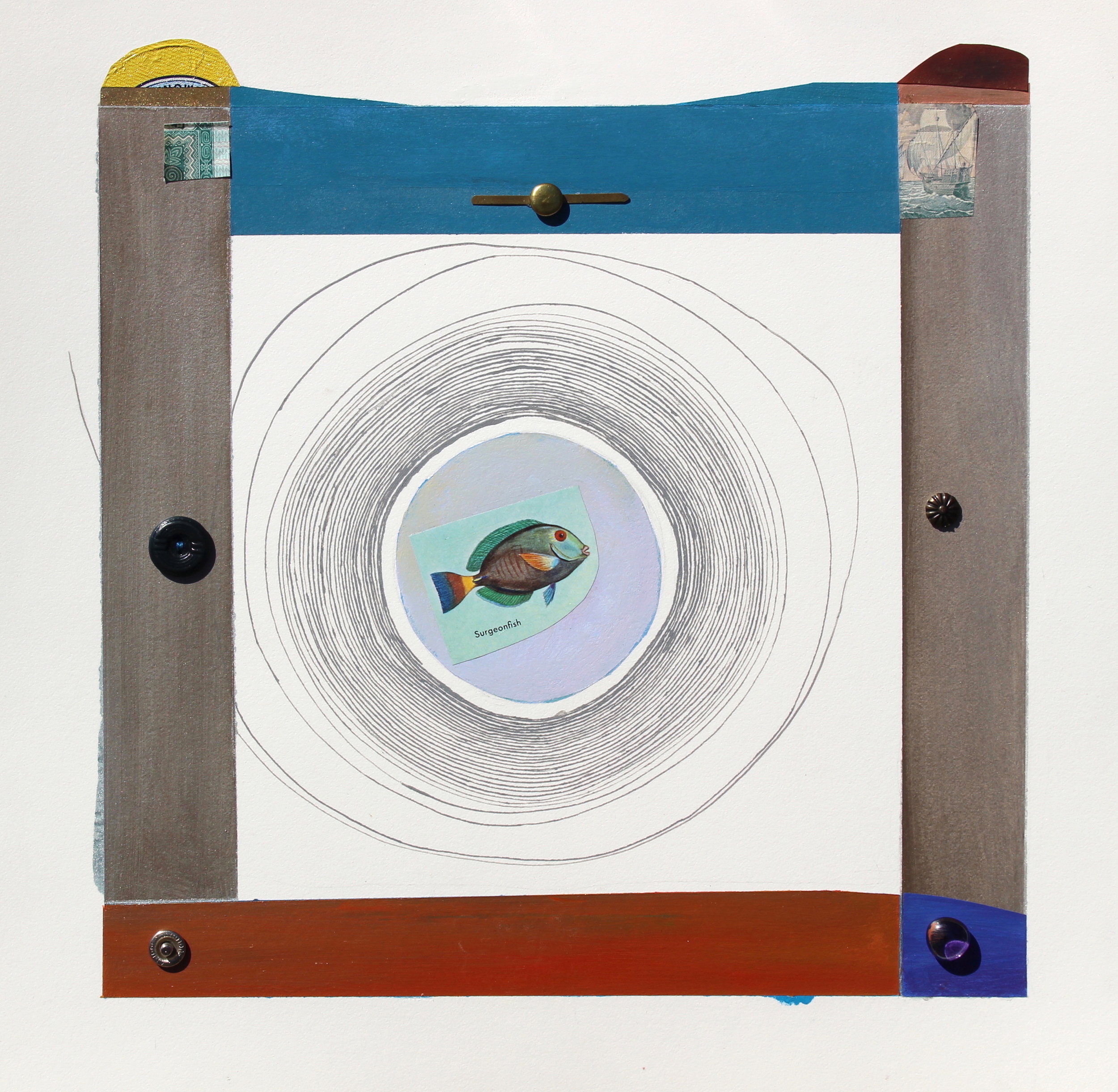 Joel Moskowitz,  Surgeon Fish , Acrylic and assemblage on paper,  14x15