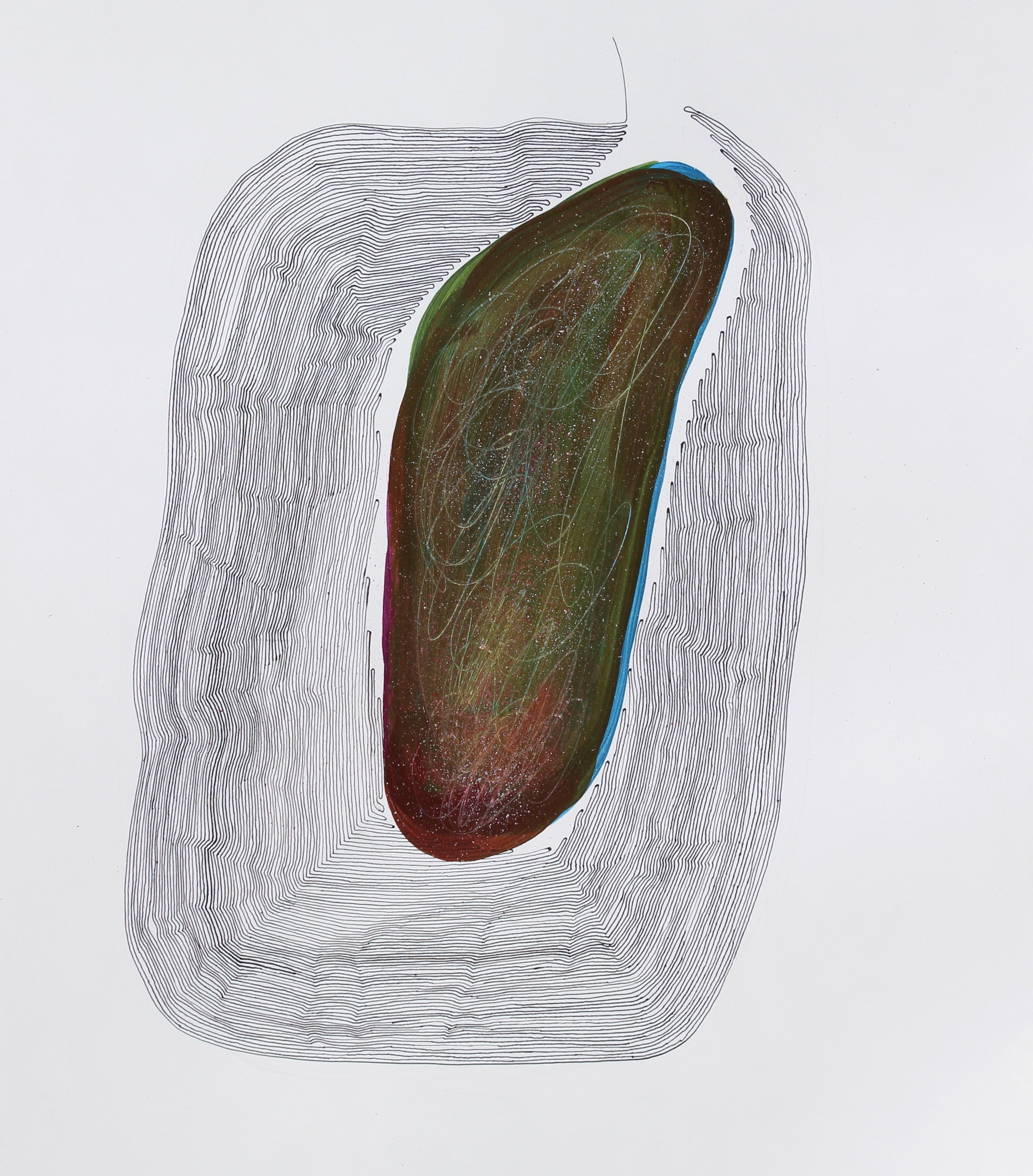 Joel Moskowitz,  The Slumbering Earth,  Acrylic on paper, 19x15