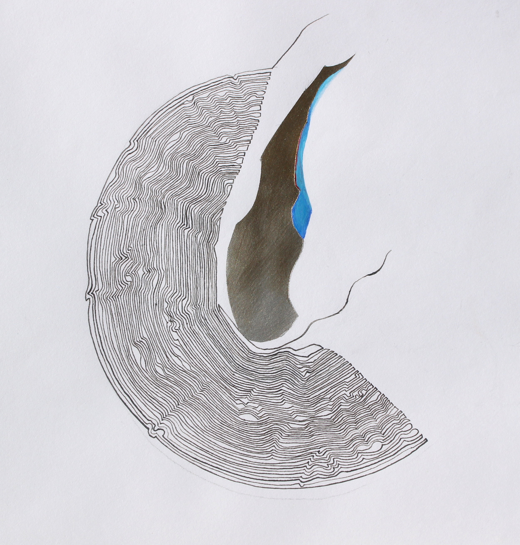 Joel Moskowitz,  Tear Drop , Mixed media on paper, 10x10