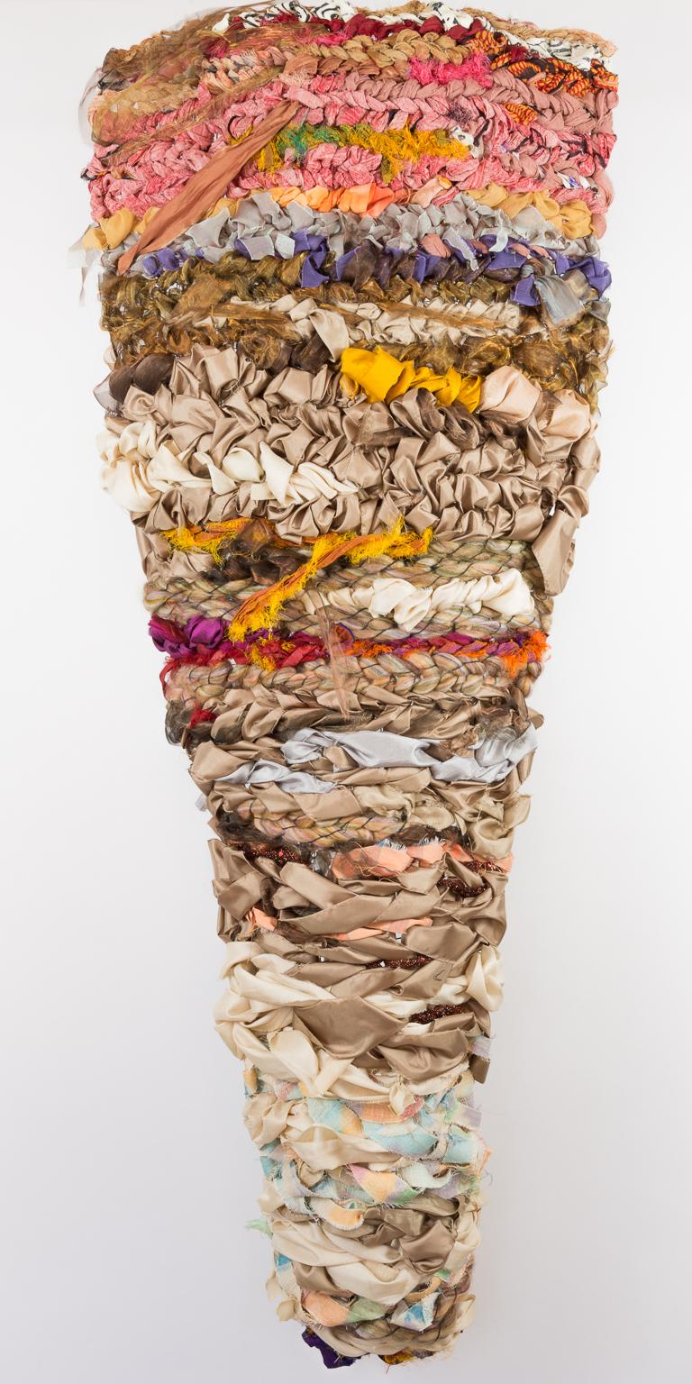 Sylvia Vander Sluis,  Elongated Torso , Handwoven fabric and yarn, 48x18x5
