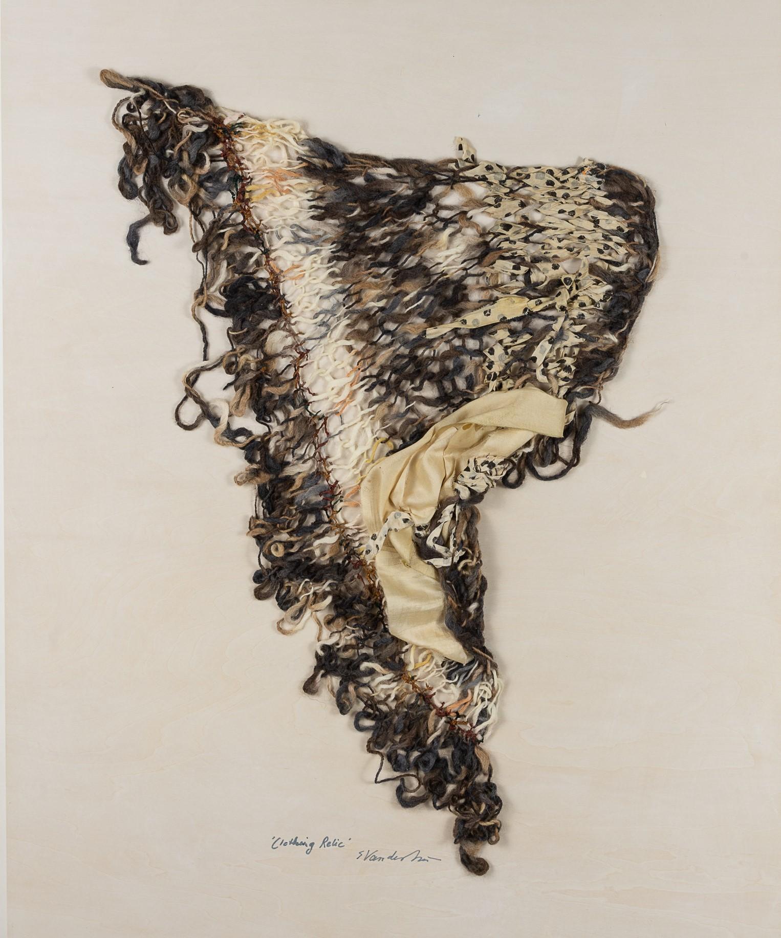 Sylvia Vander Sluis,  Clothing Relic 1 (Grey/Brown/Ivory)  Handknit wool, chenille, silk, 30x24x1.5