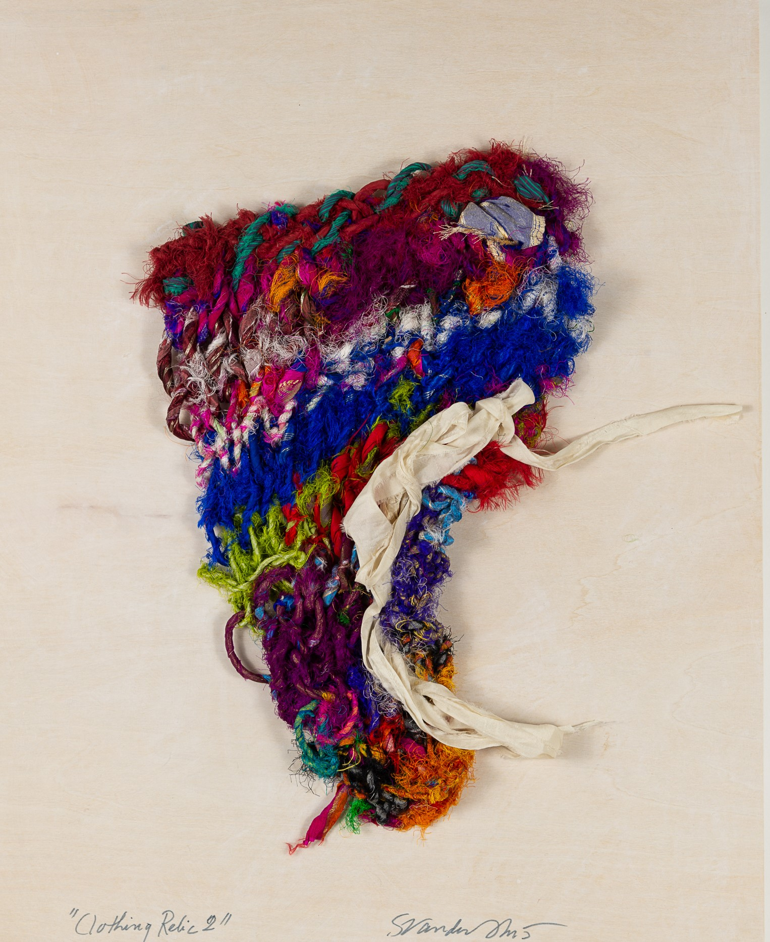 Sylvia Vander Sluis,  Clothing Relic 2 (Red/Blue/White)  Handknit silk and ribbon, 18x14x1.5