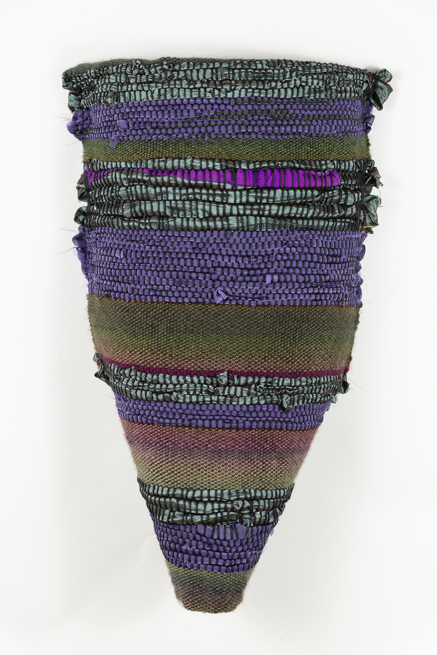 Sylvia Vander Sluis,  Torso (Purple/Turquoise)  Handwoven wool, silk, polyester, 20x12x3