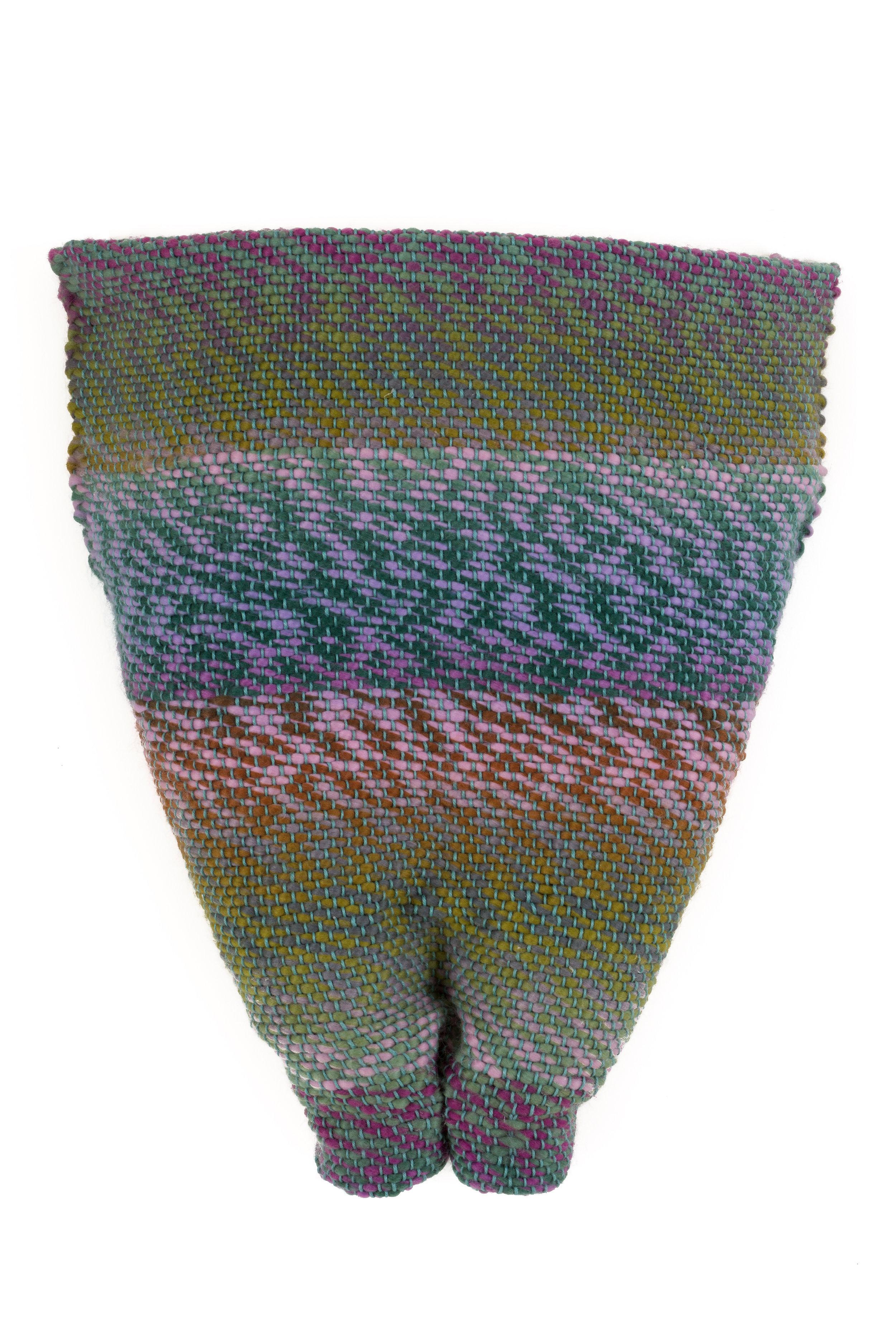 Sylvia Vander Sluis,  Turquoise/Green/Purple Pelvis,  Handwoven acrylic yarn over mesh, 15x12x4